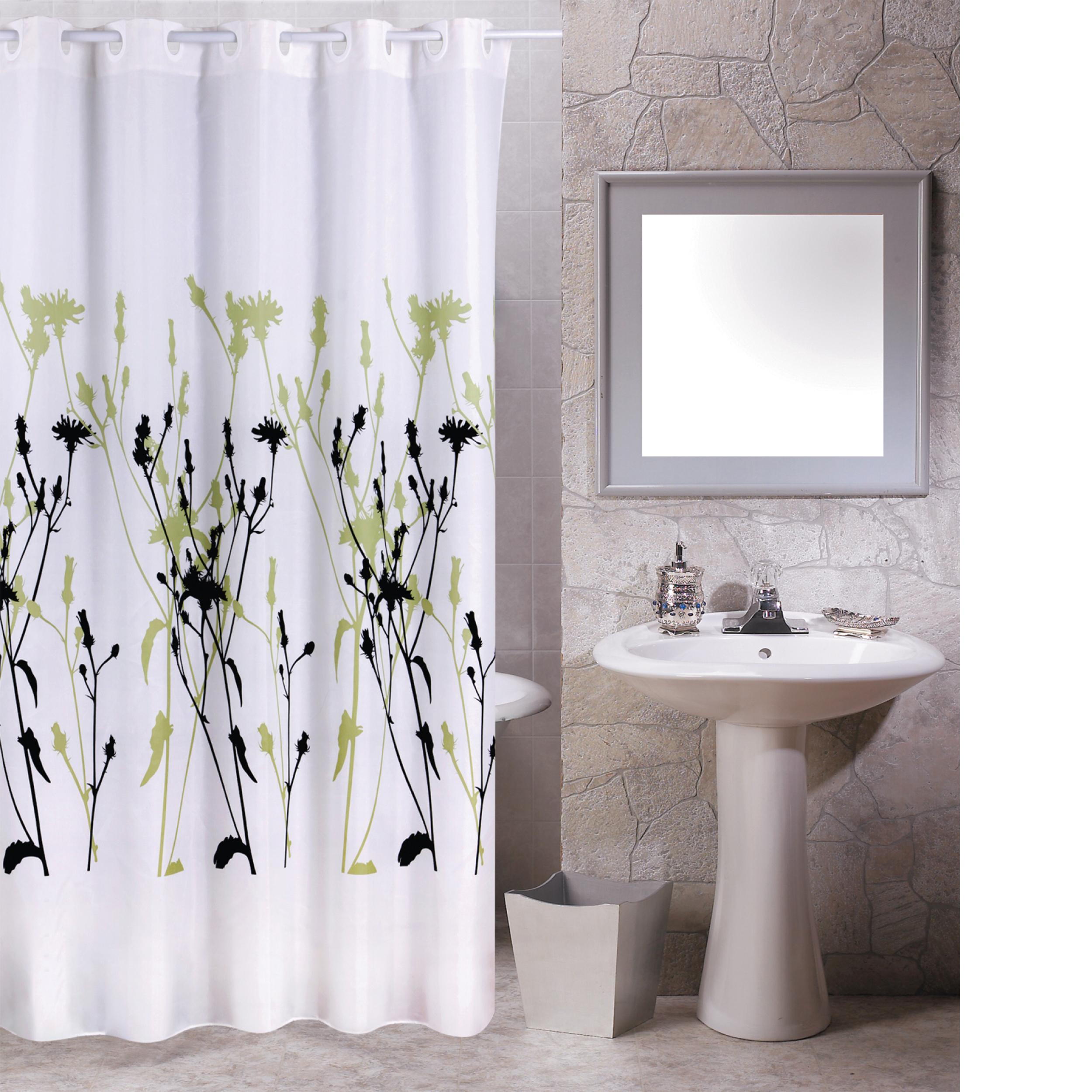 MSV Duschvorhang 180x200cm Anti Schimmel Textil Badewannenvorhang Wannenvorhang Blumen Grün