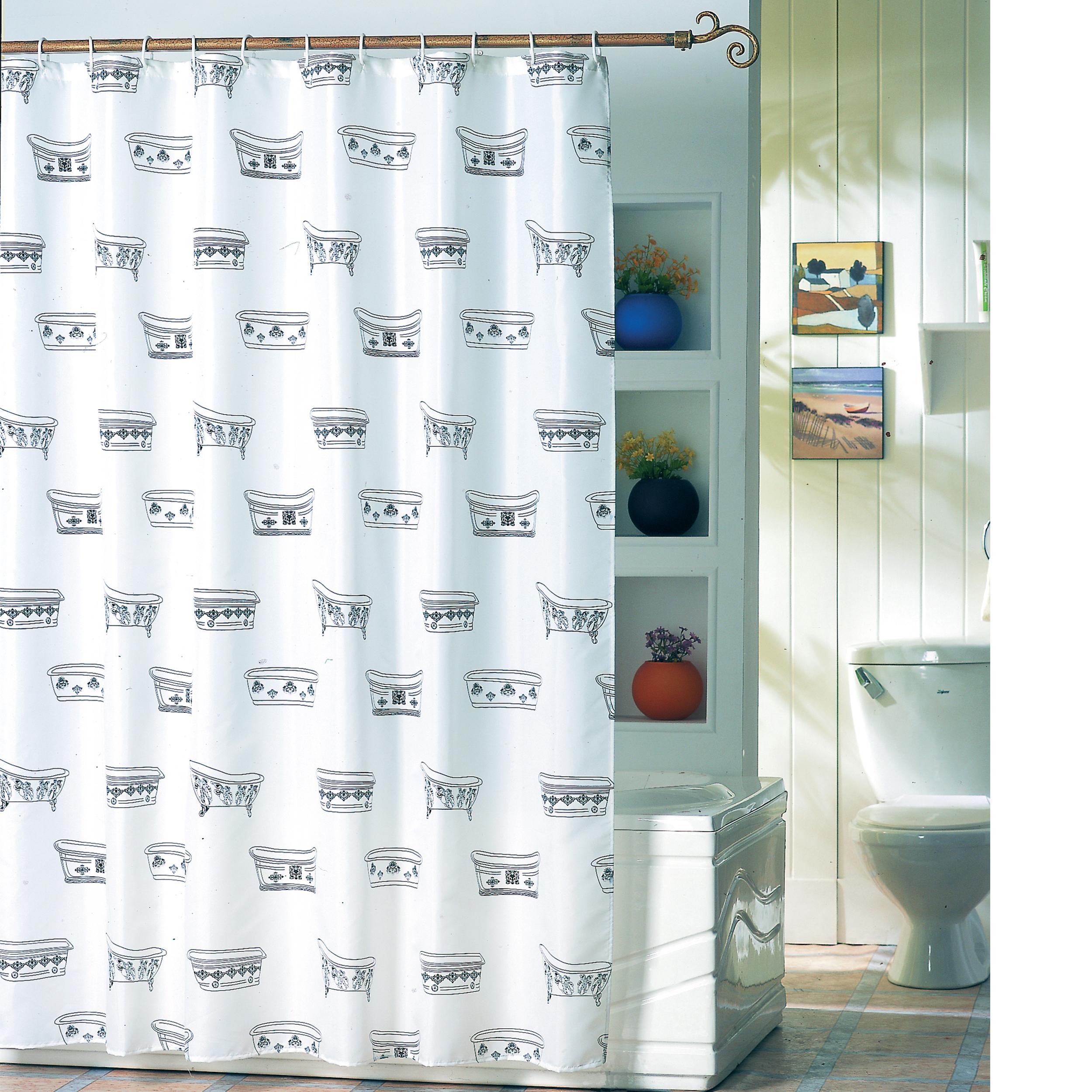MSV Duschvorhang 180x200cm Anti Schimmel Textil Badewannenvorhang Wannenvorhang Badewanne