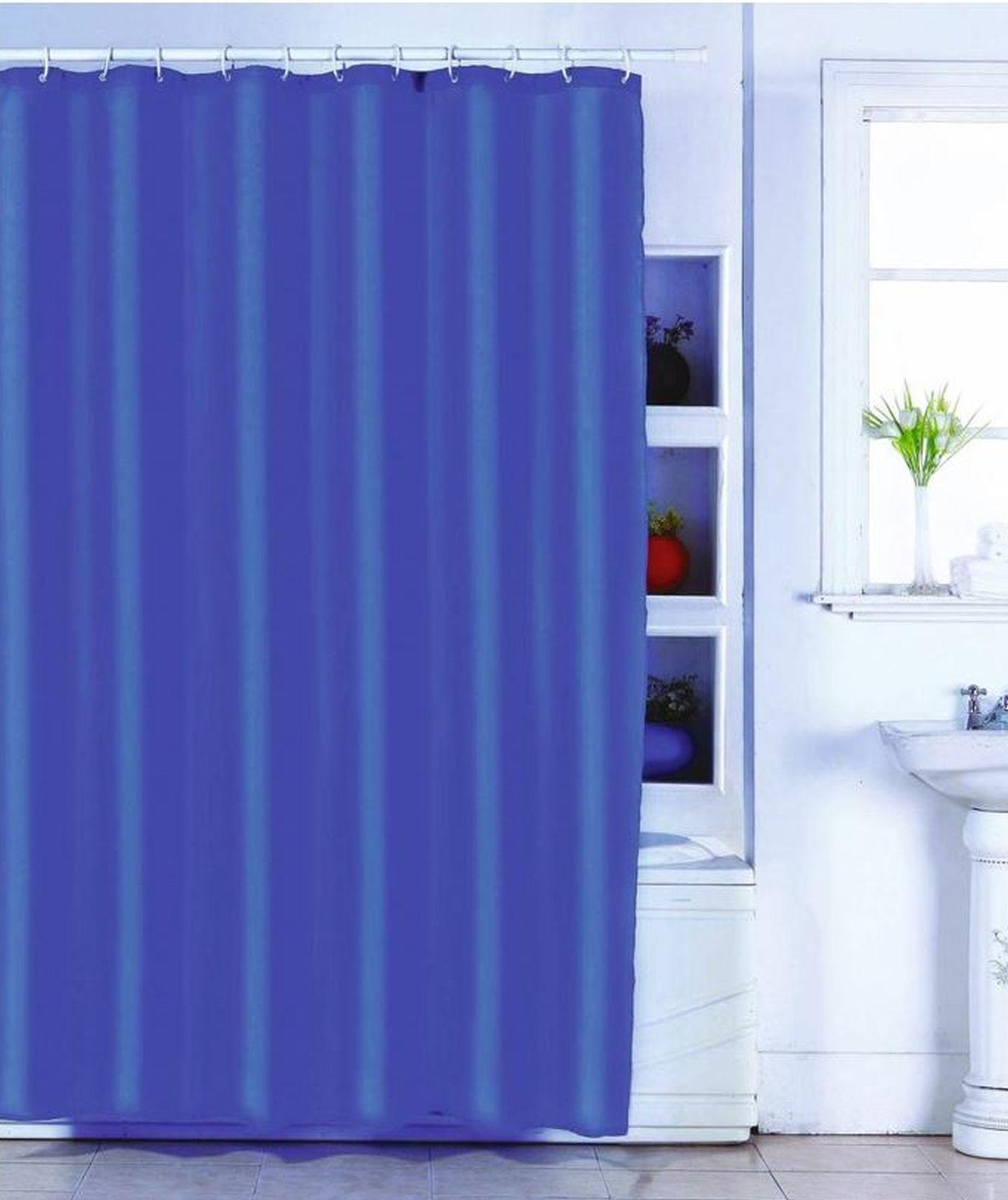 MSV Duschvorhang 180x200cm Anti Schimmel Textil Badewannenvorhang Wannenvorhang Blau