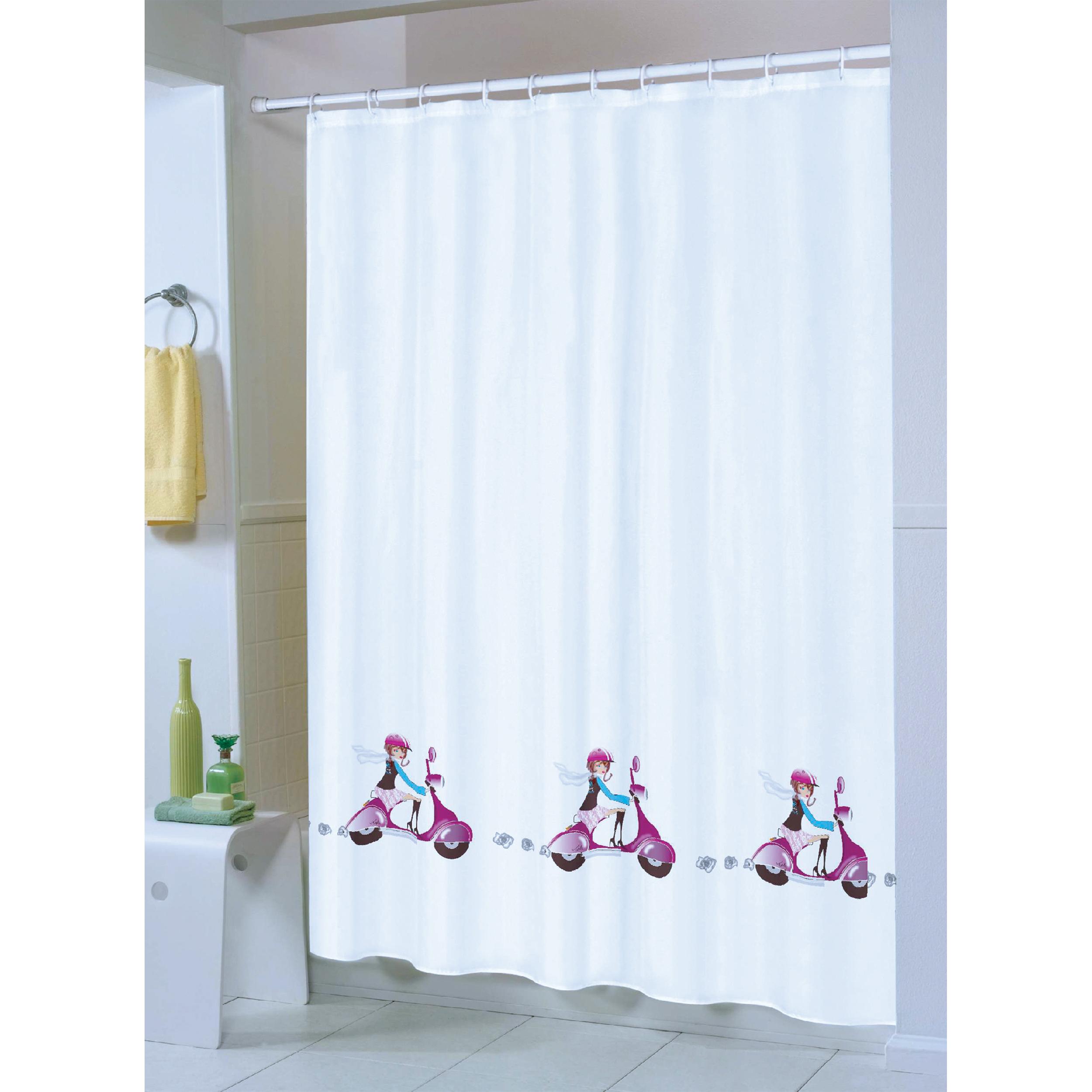 MSV Duschvorhang 180x200cm Anti Schimmel Textil Badewannenvorhang Wannenvorhang Jane