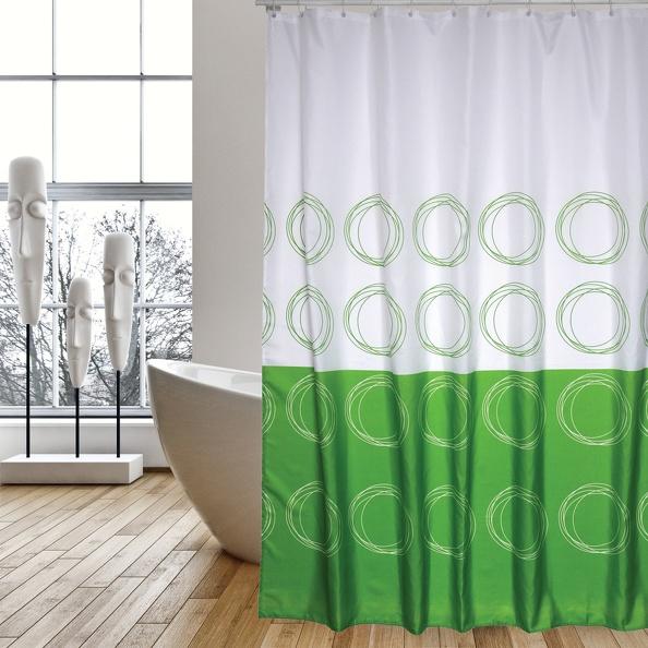 MSV Duschvorhang 180x200cm Anti Schimmel Textil Badewannenvorhang Wannenvorhang Kreise Grün