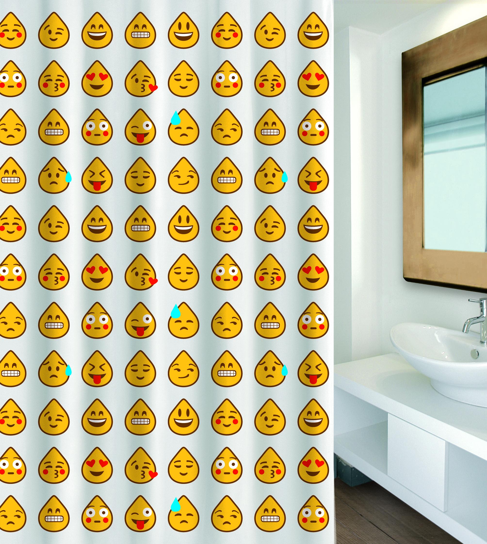 MSV Duschvorhang 180x200cm Anti Schimmel Textil Badewannenvorhang Wannenvorhang Emoji