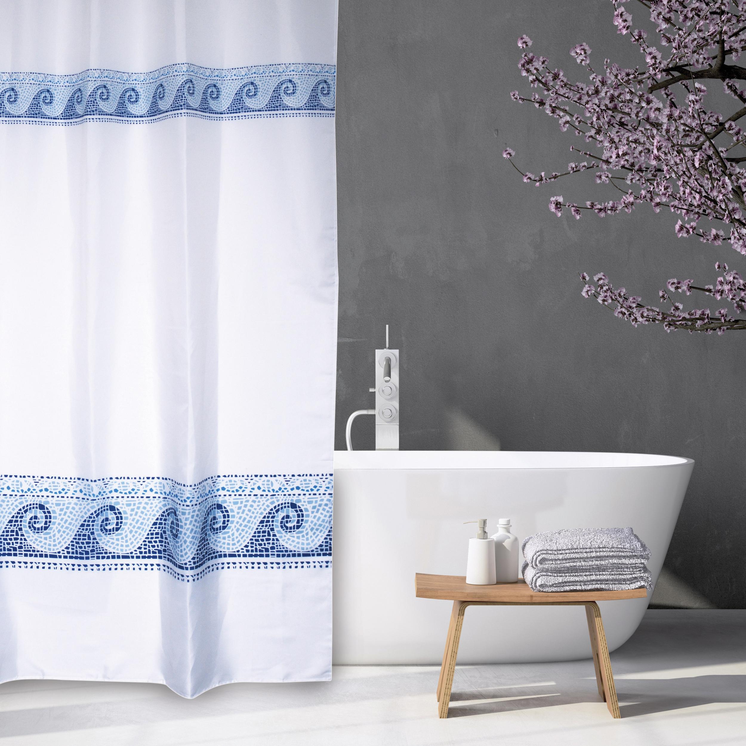 MSV Duschvorhang 180x200cm Anti Schimmel Textil Badewannenvorhang Wannenvorhang Wellen