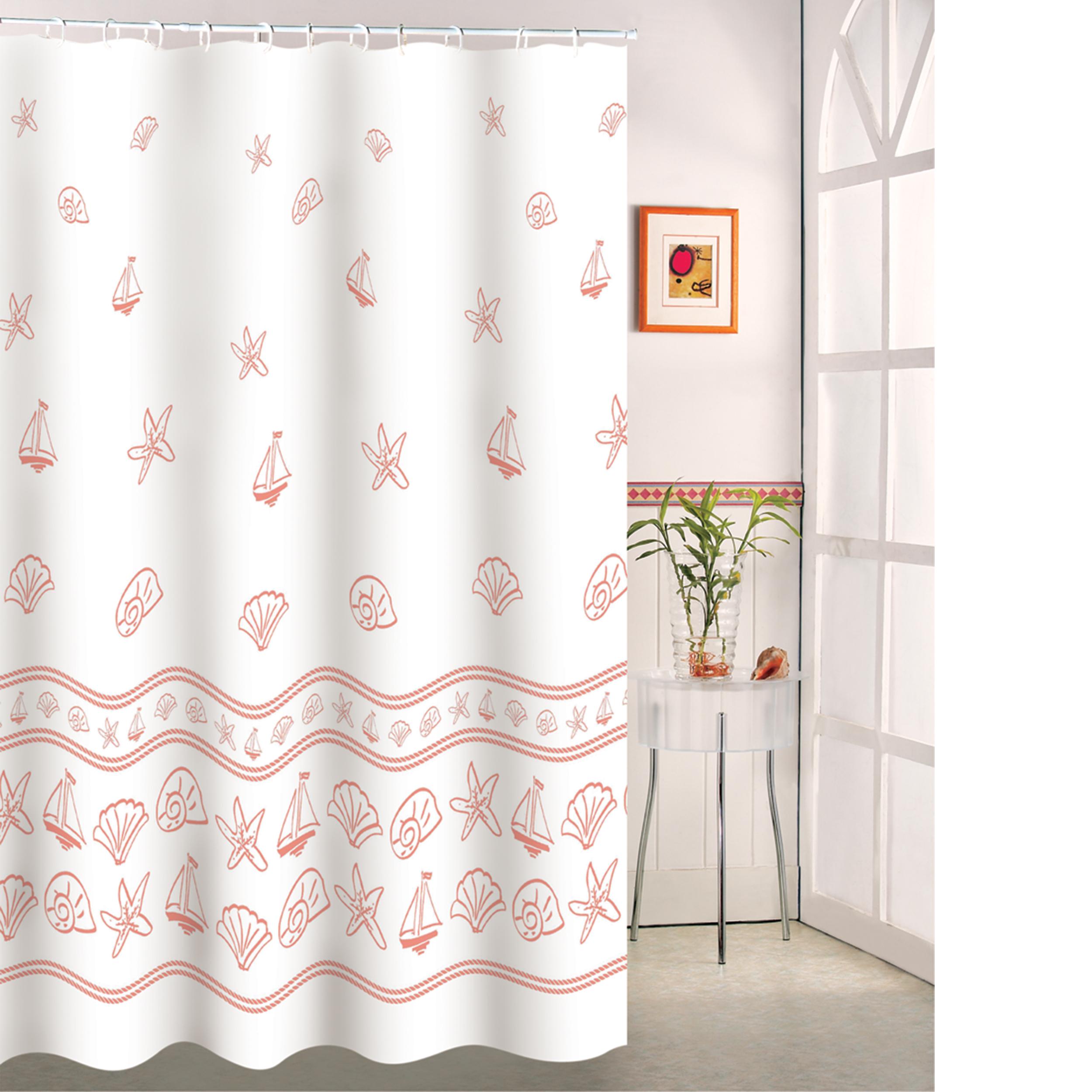 MSV Duschvorhang 180x200cm Anti Schimmel Textil Badewannenvorhang Wannenvorhang Muscheln-2