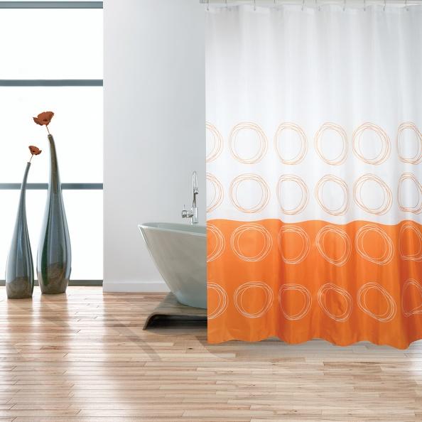 MSV Duschvorhang 180x200cm Anti Schimmel Textil Badewannenvorhang Wannenvorhang Kreise Orange
