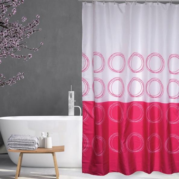 MSV Duschvorhang 180x200cm Anti Schimmel Textil Badewannenvorhang Wannenvorhang Kreise Pink