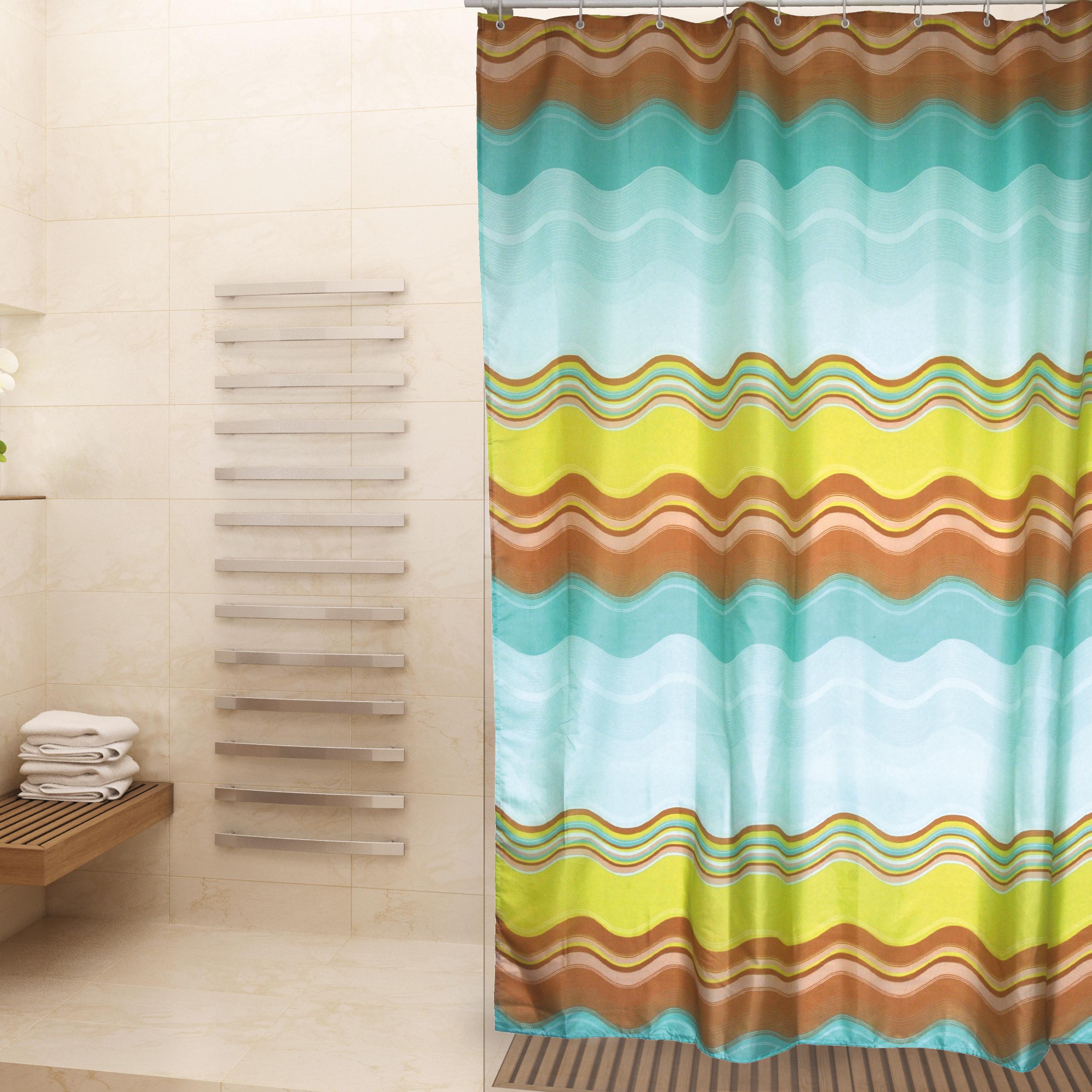 MSV Duschvorhang 180x200cm Anti Schimmel Textil Badewannenvorhang Wannenvorhang Rainbow