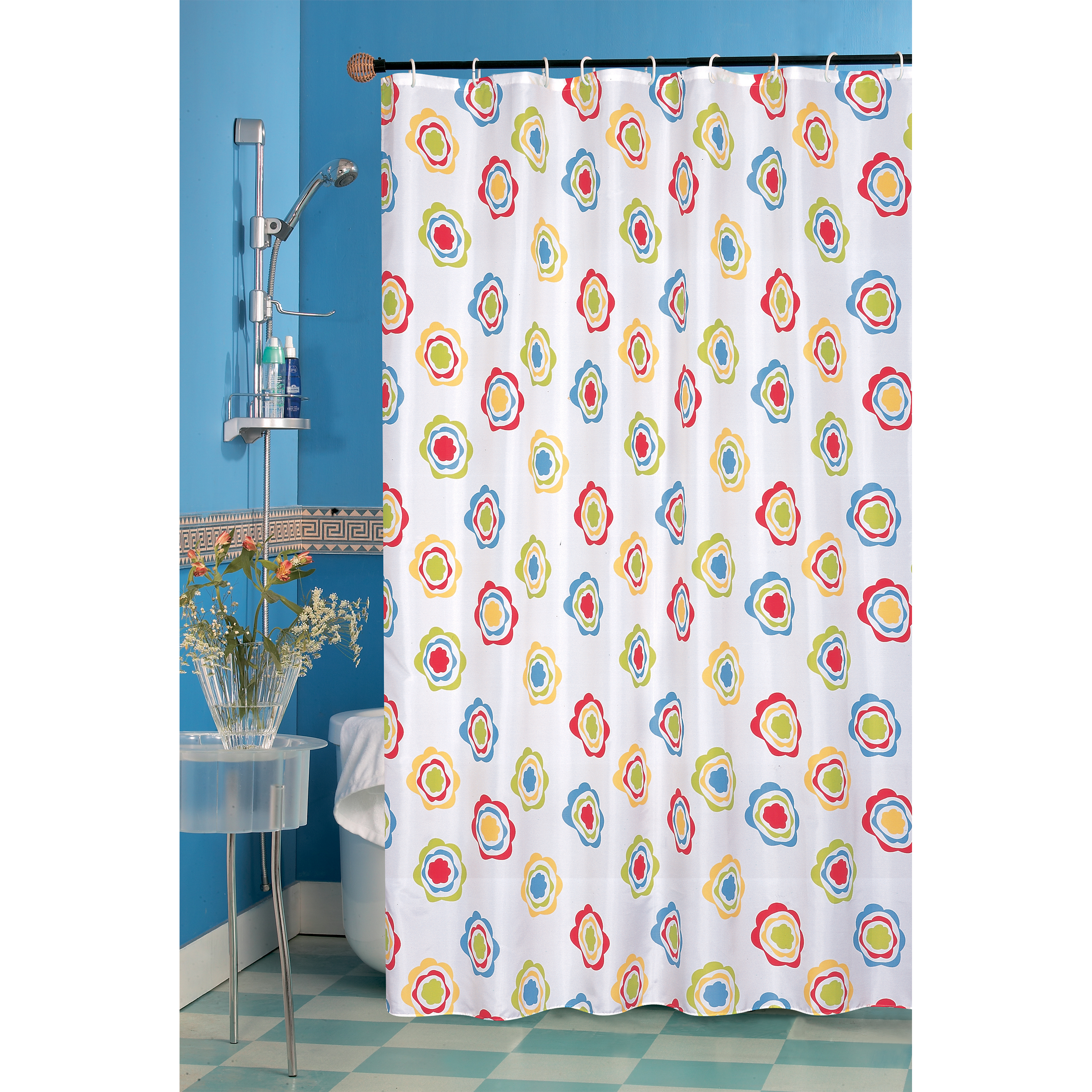 MSV Duschvorhang 180x200cm Anti Schimmel Textil Badewannenvorhang Wannenvorhang Kreise Bunt