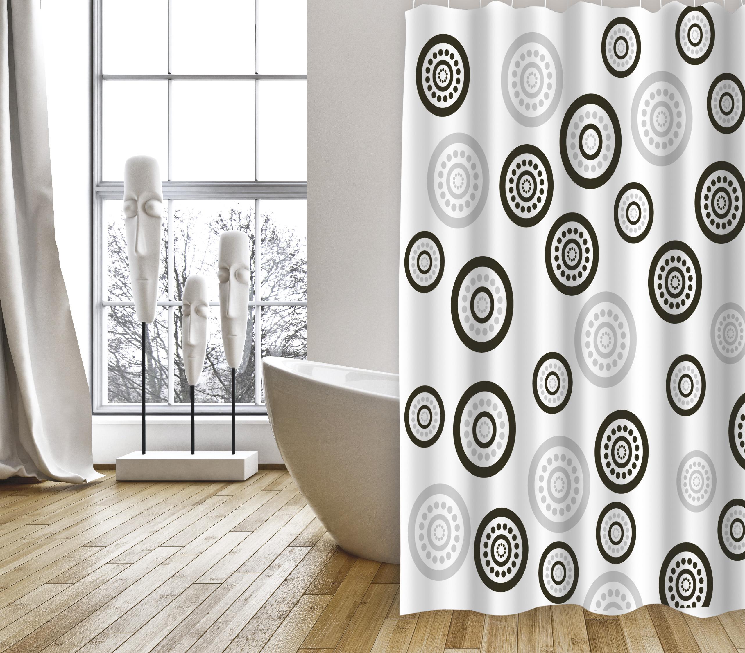 MSV Duschvorhang 180x200cm Anti Schimmel Textil Badewannenvorhang Wannenvorhang Kreise Schwarz