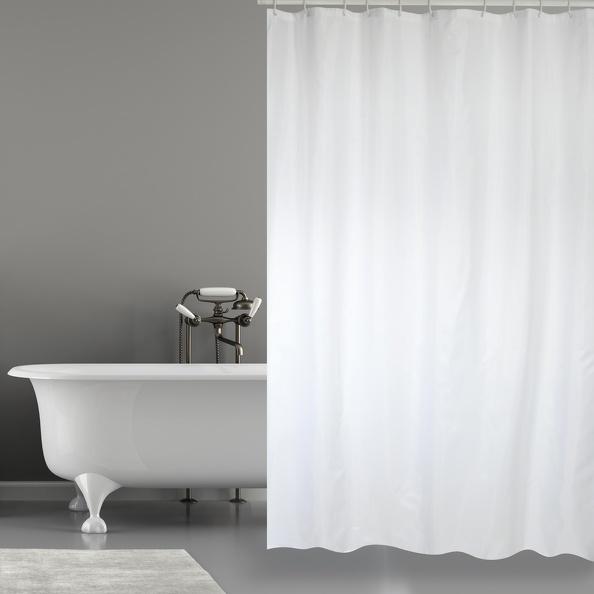 MSV Duschvorhang 180x200cm Anti Schimmel Textil Badewannenvorhang Wannenvorhang Weiß Uni