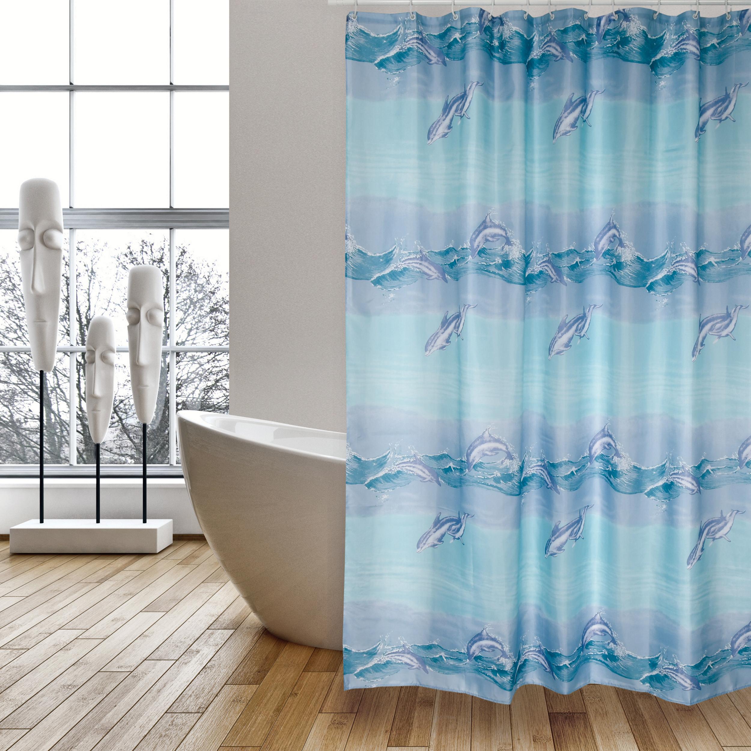 MSV Duschvorhang 180x200cm Anti Schimmel Textil Badewannenvorhang Wannenvorhang Delfine_2