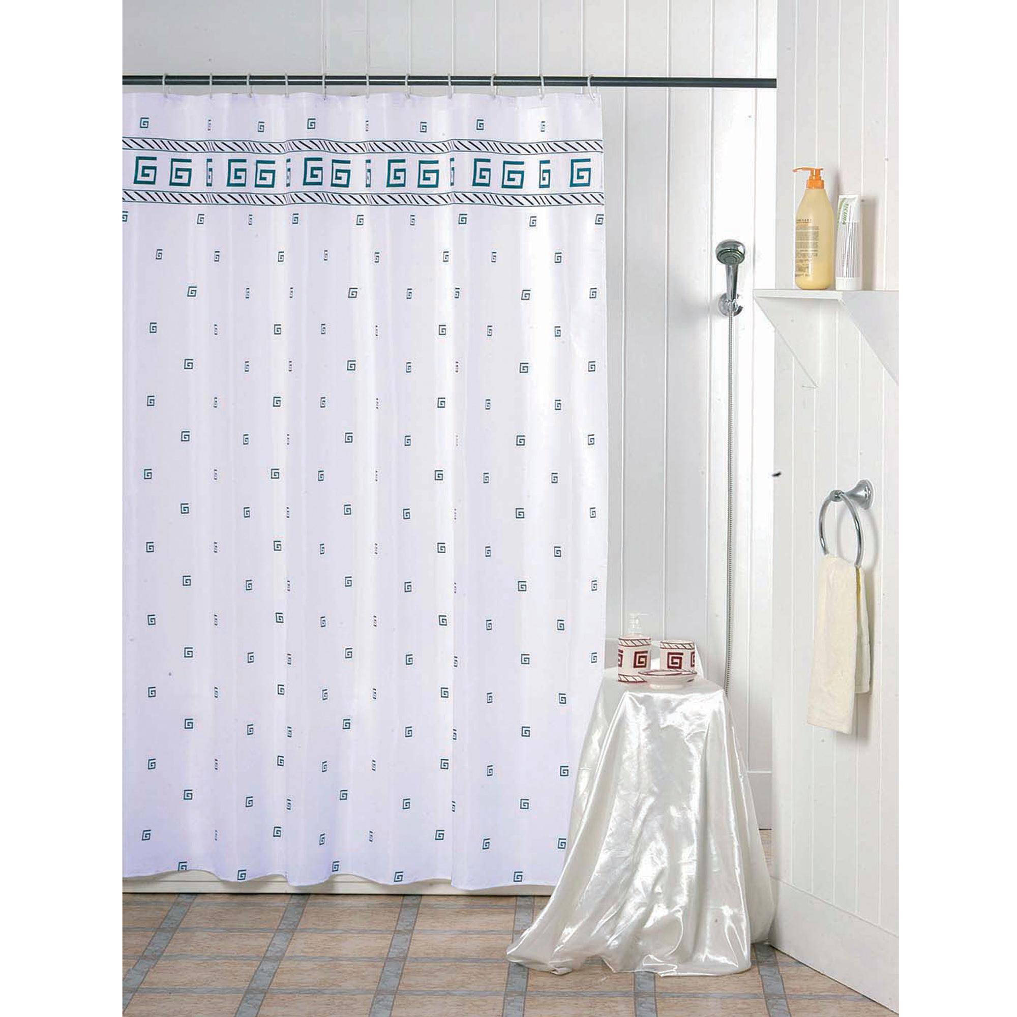 MSV Duschvorhang 180x200cm Anti Schimmel Textil Badewannenvorhang Wannenvorhang Spirale Blau/Weiß