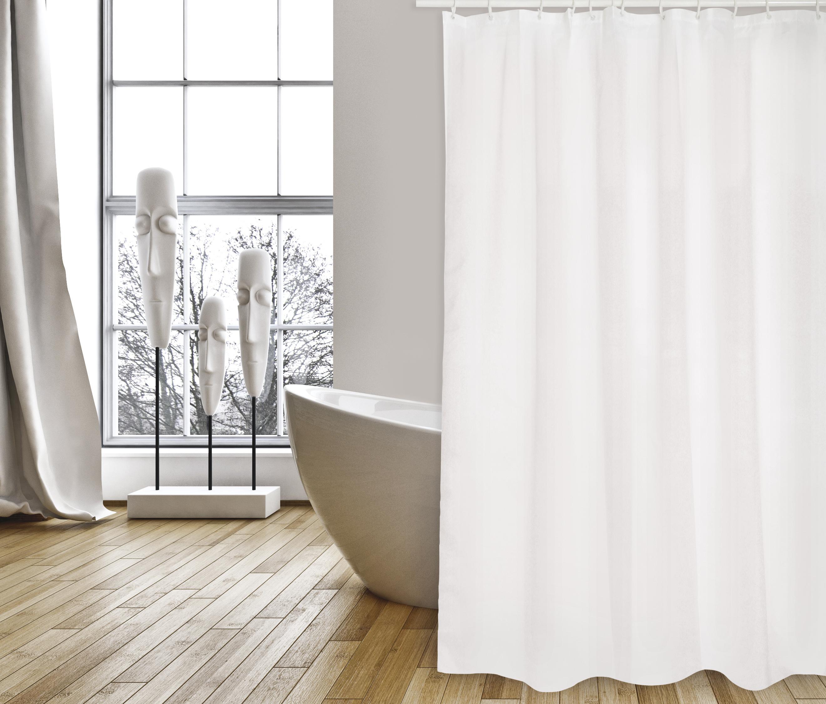 MSV Duschvorhang 180x200cm Anti Schimmel Textil Badewannenvorhang Wannenvorhang Weiss Uni