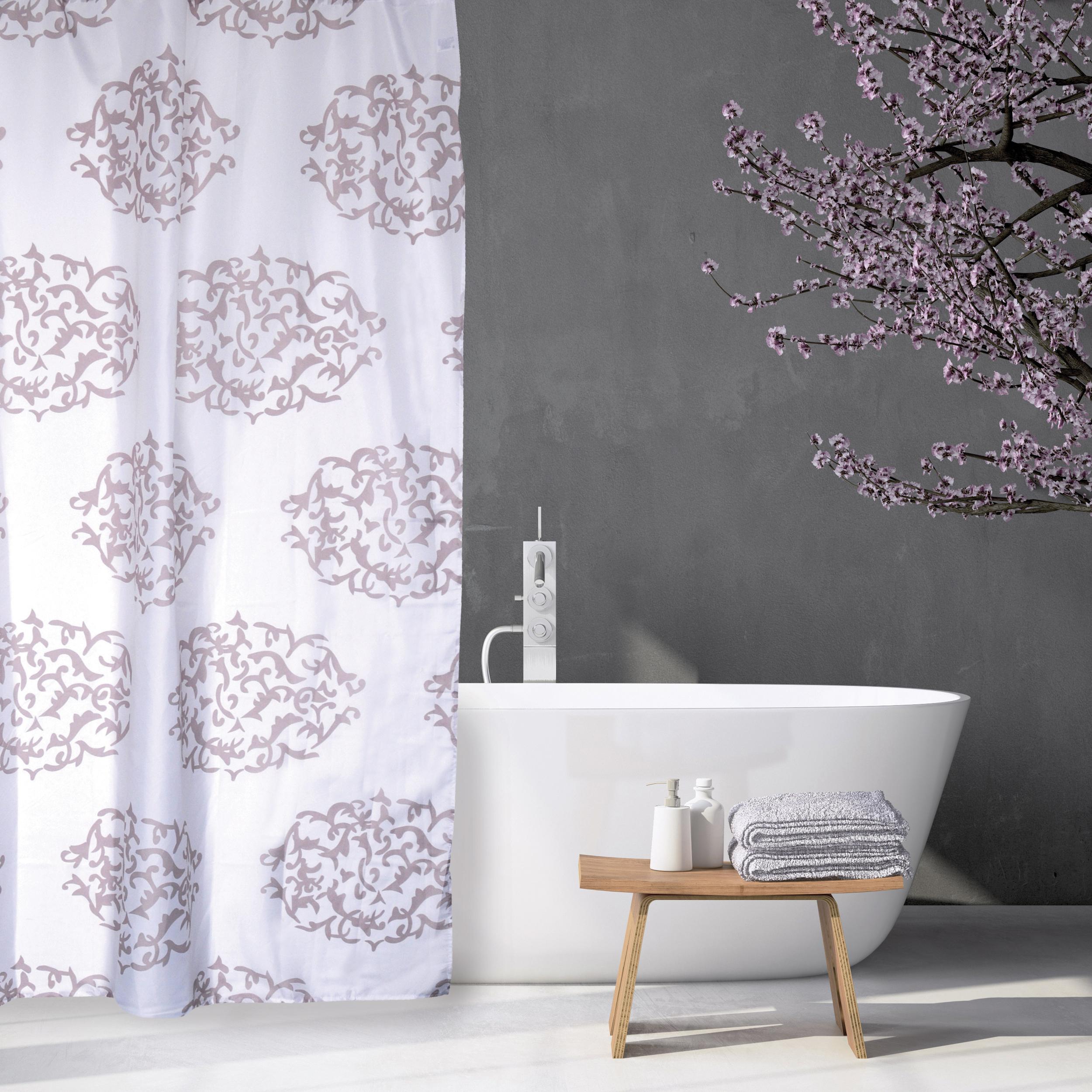 MSV Duschvorhang 180x200cm Anti Schimmel Textil Badewannenvorhang Wannenvorhang Baroque