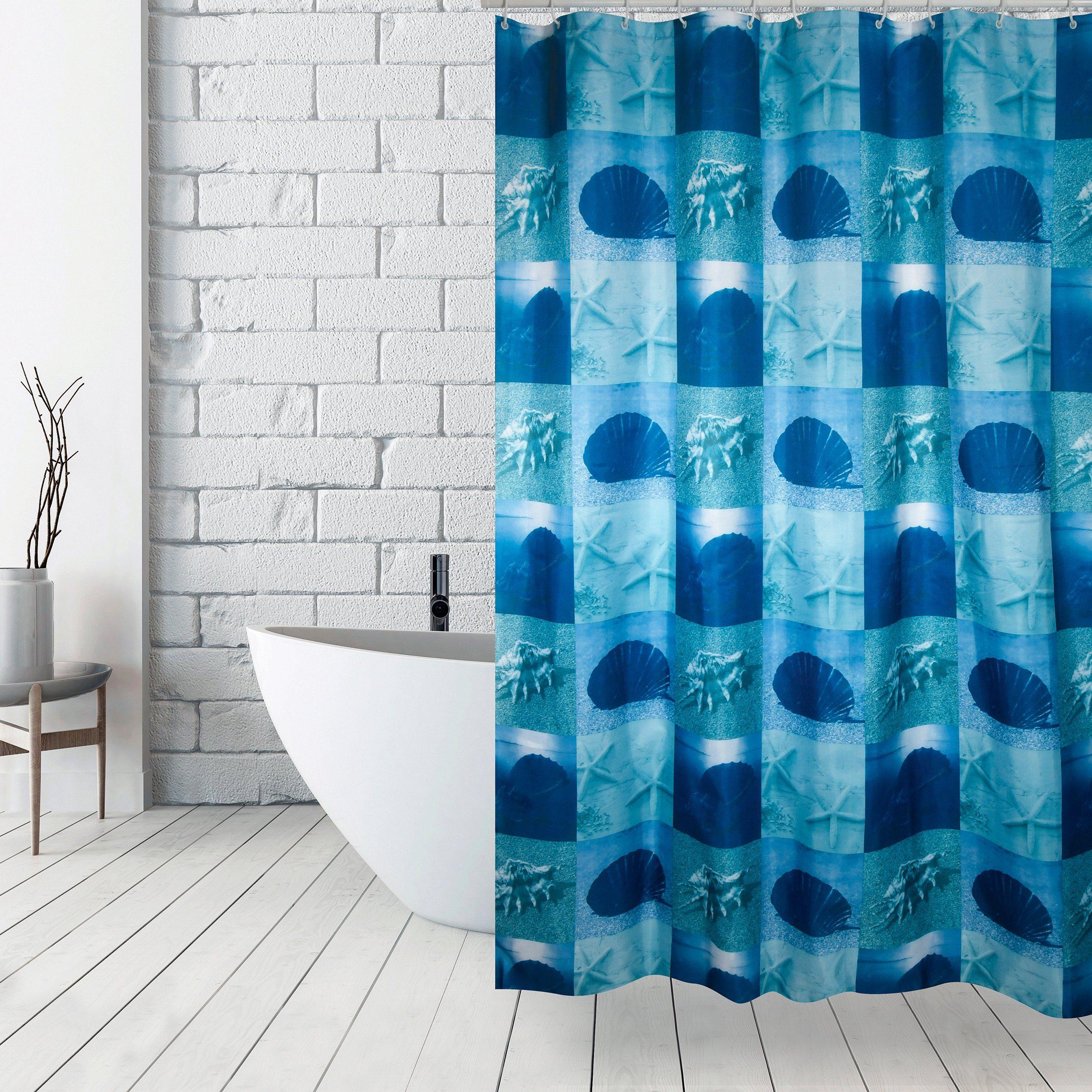 MSV Duschvorhang 180x200cm Anti Schimmel Textil Badewannenvorhang Wannenvorhang Muschel