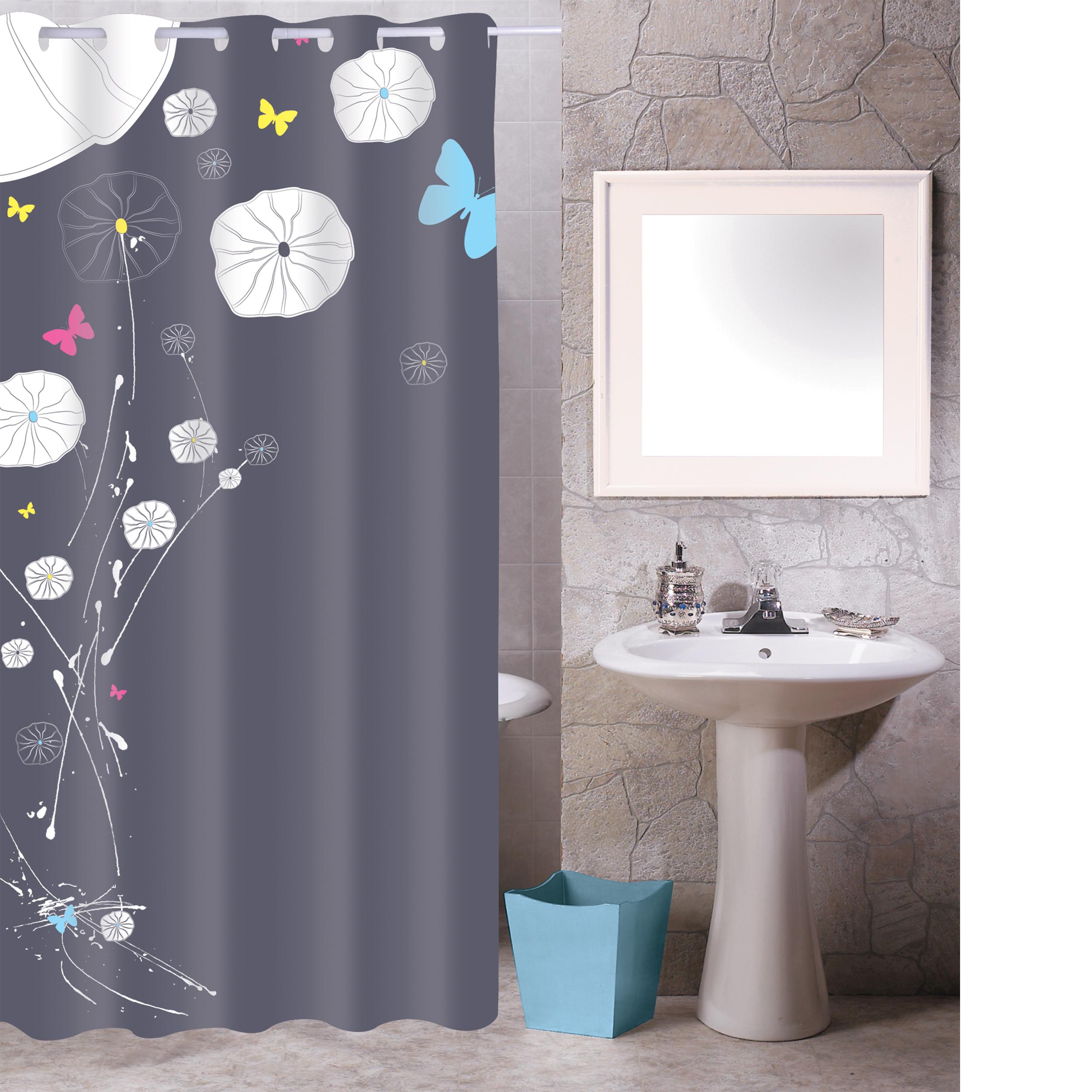 MSV Duschvorhang 180x200cm Anti Schimmel Textil Badewannenvorhang Wannenvorhang Butterflies