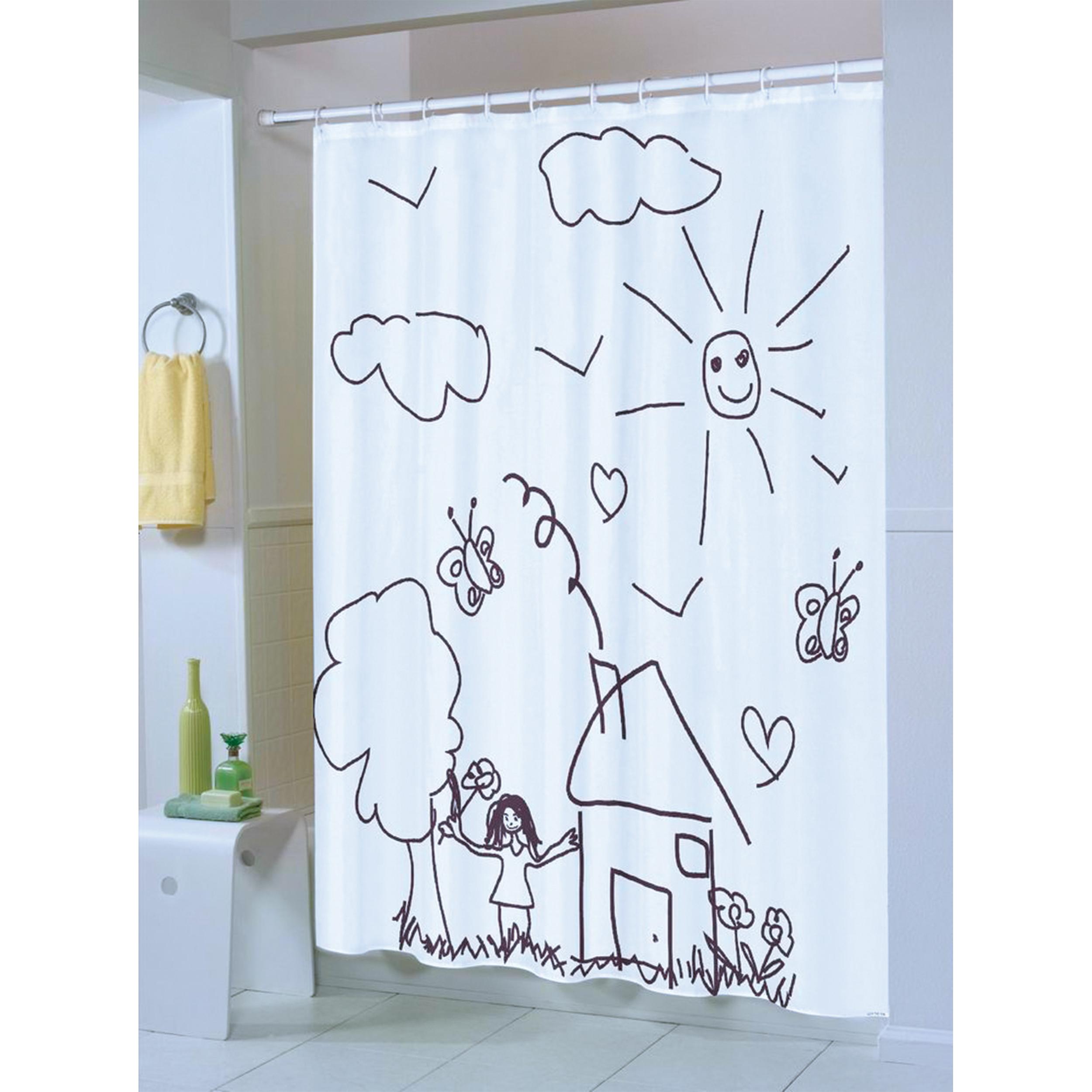 MSV Duschvorhang 180x200cm Anti Schimmel Textil Badewannenvorhang Wannenvorhang Kinder Weiß