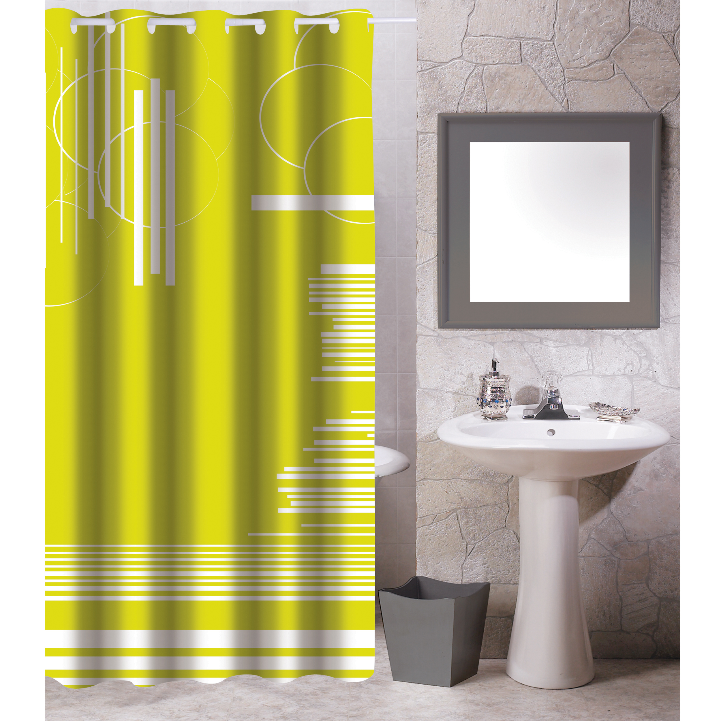 MSV Duschvorhang 180x200cm Anti Schimmel Textil Badewannenvorhang Wannenvorhang Graphics Grün