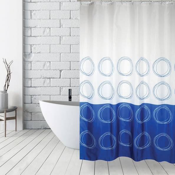 MSV Duschvorhang 180x200cm Anti Schimmel Textil Badewannenvorhang Wannenvorhang Kreise Blau