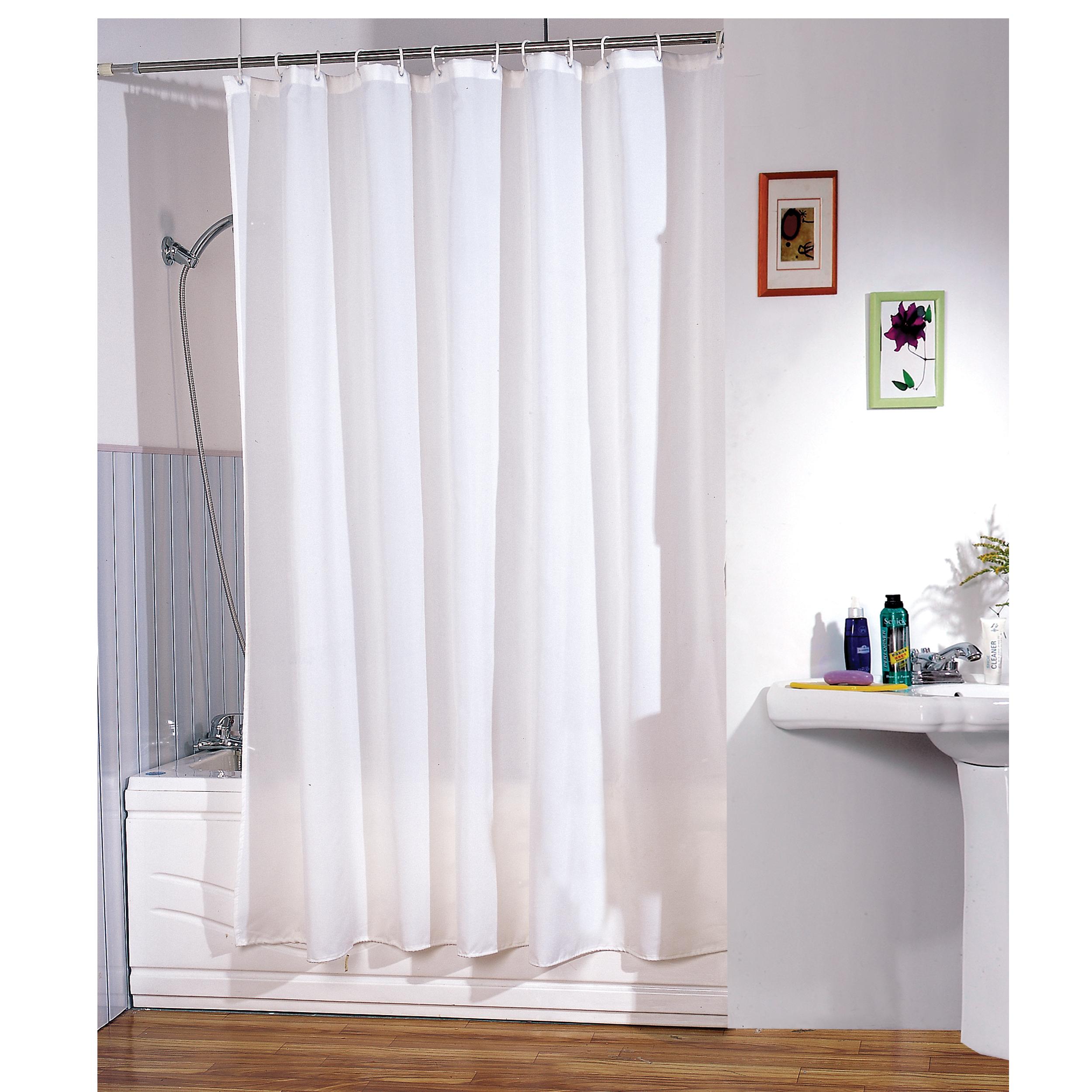 MSV Duschvorhang 180x200cm Anti Schimmel Textil Badewannenvorhang Wannenvorhang Weiß
