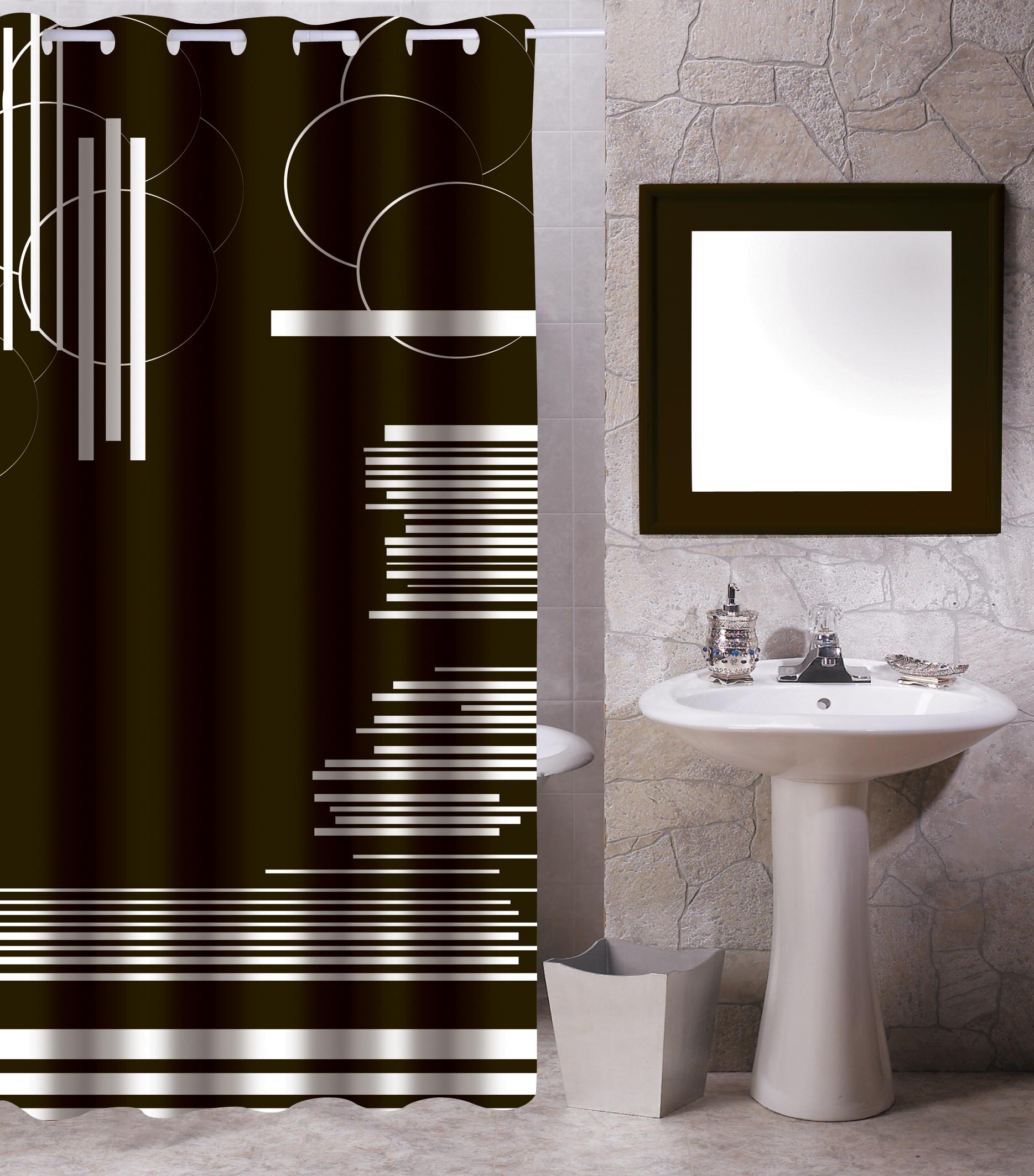 MSV Duschvorhang 180x200cm Anti Schimmel Textil Badewannenvorhang Wannenvorhang Grafik Schwarz