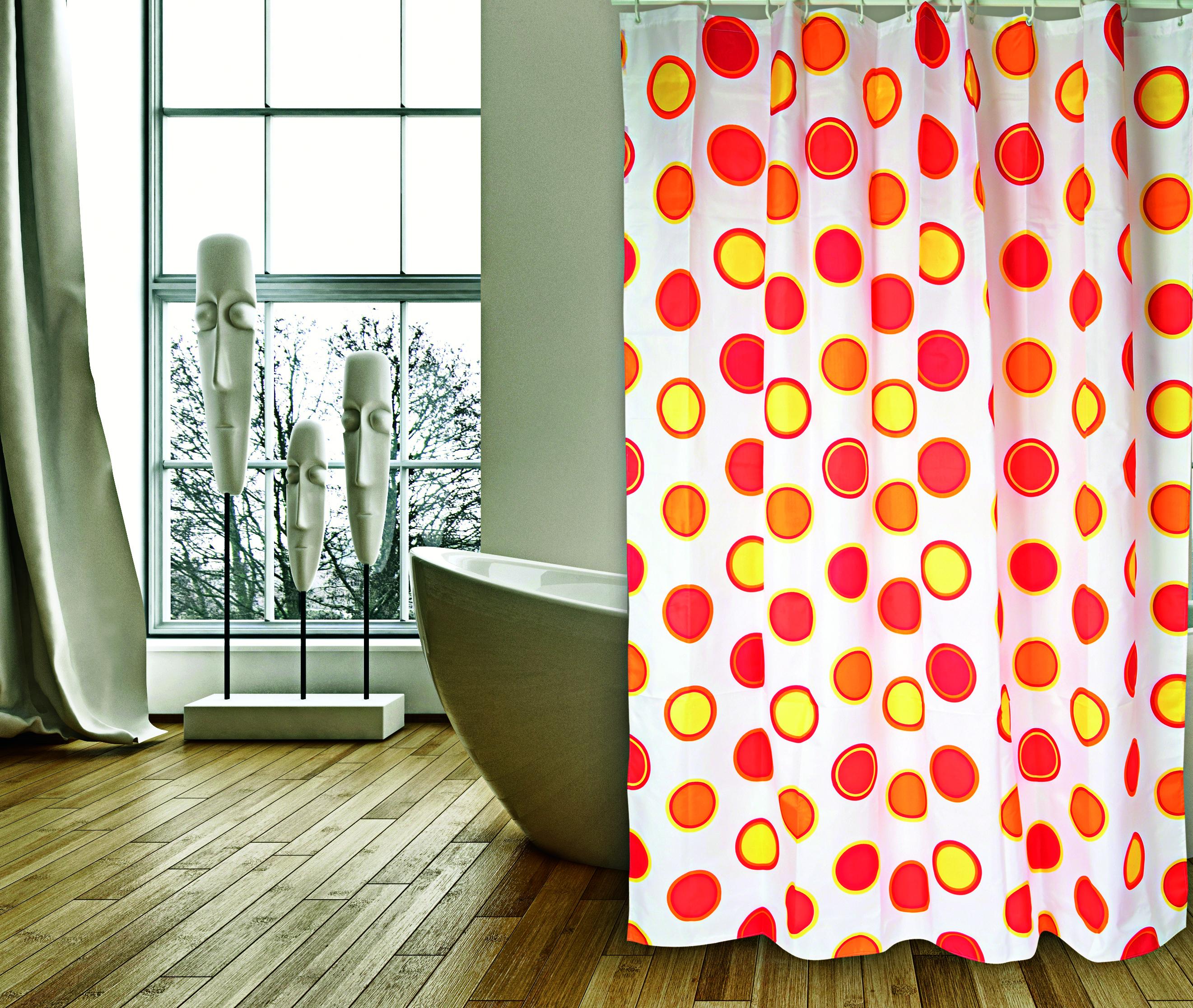 MSV Duschvorhang 180x200cm Anti Schimmel Textil Badewannenvorhang Wannenvorhang Kreise Rot