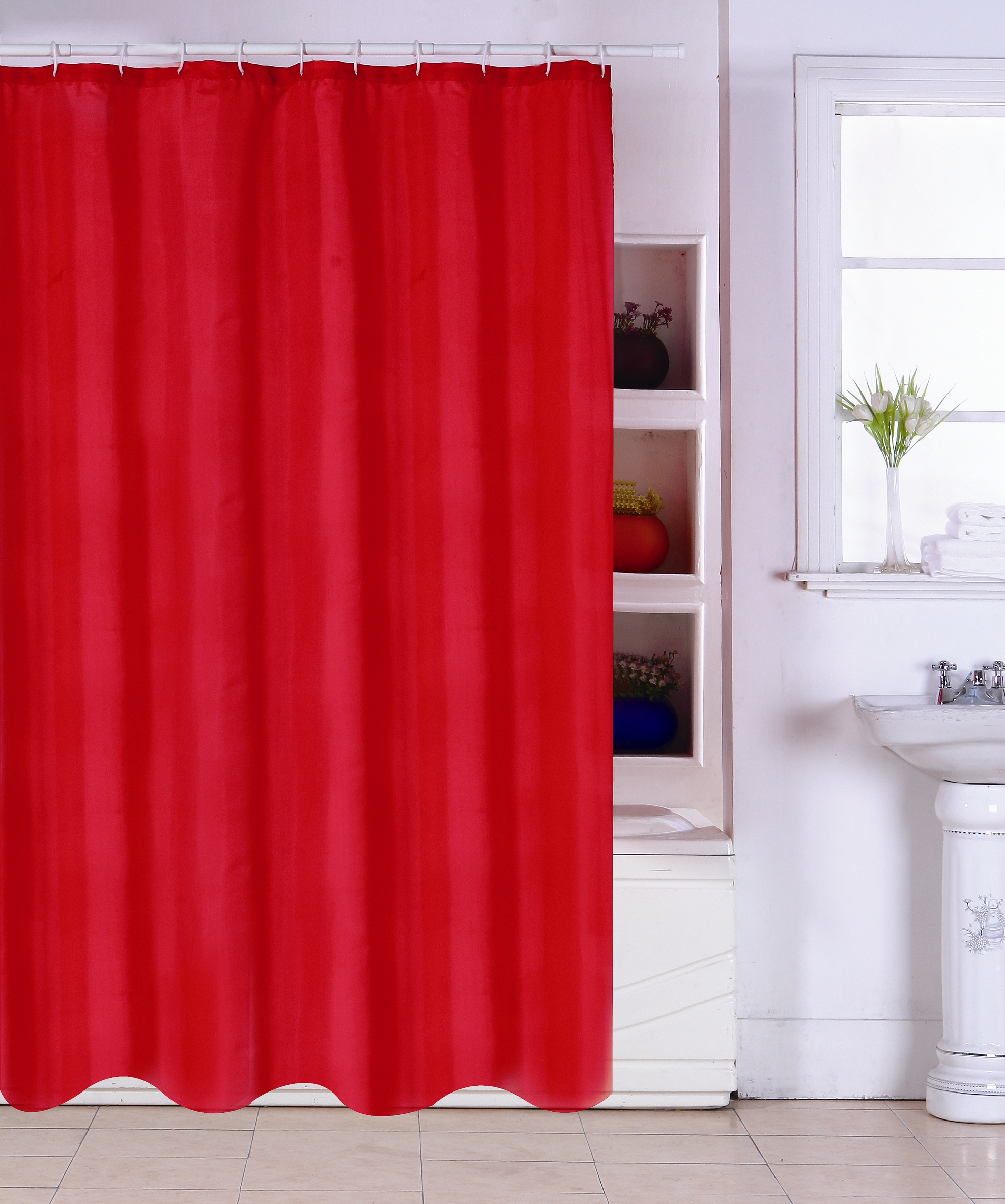 MSV Duschvorhang 180x200cm Anti Schimmel Textil Badewannenvorhang Wannenvorhang Rot