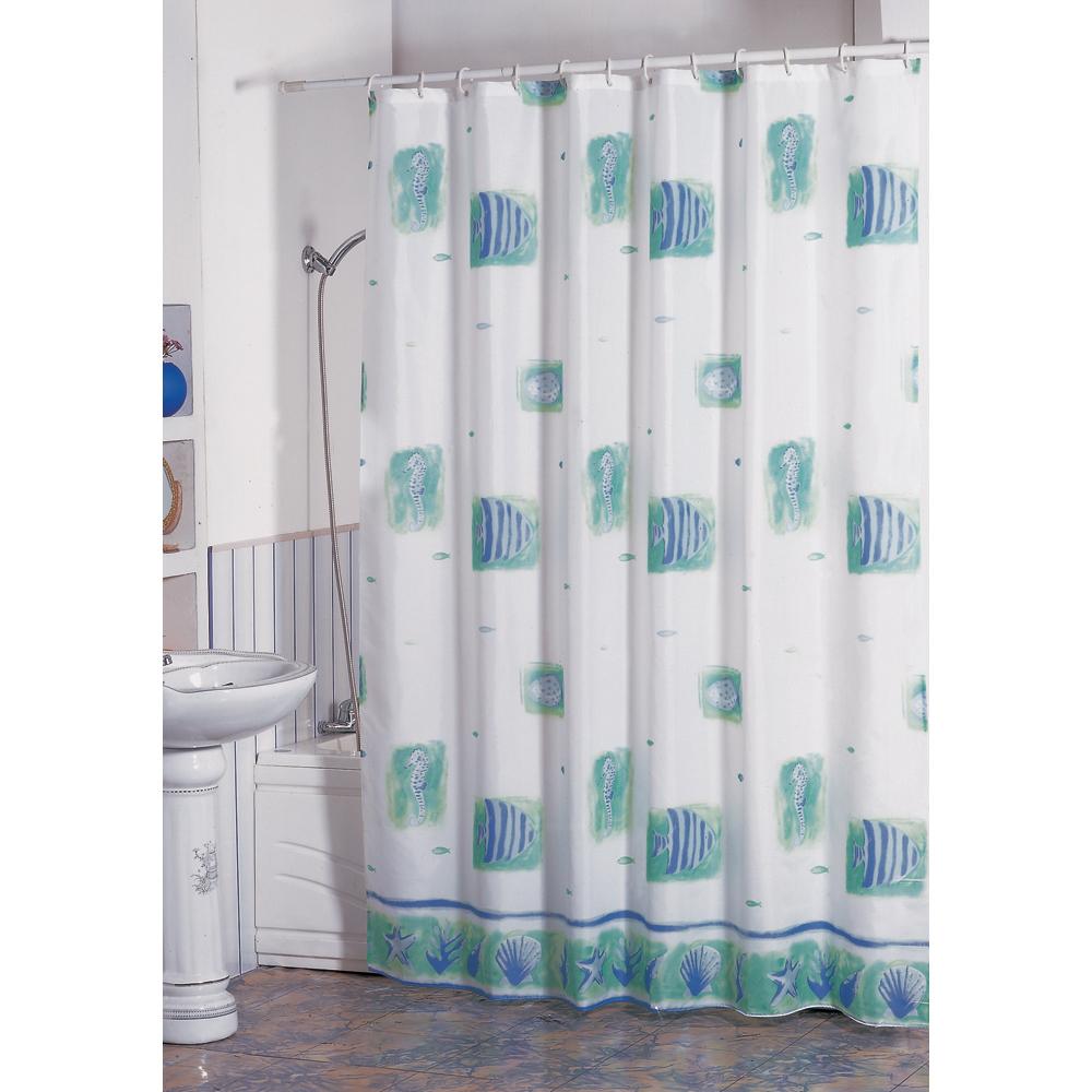MSV Duschvorhang 180x200cm Anti Schimmel Textil Badewannenvorhang Wannenvorhang Fische