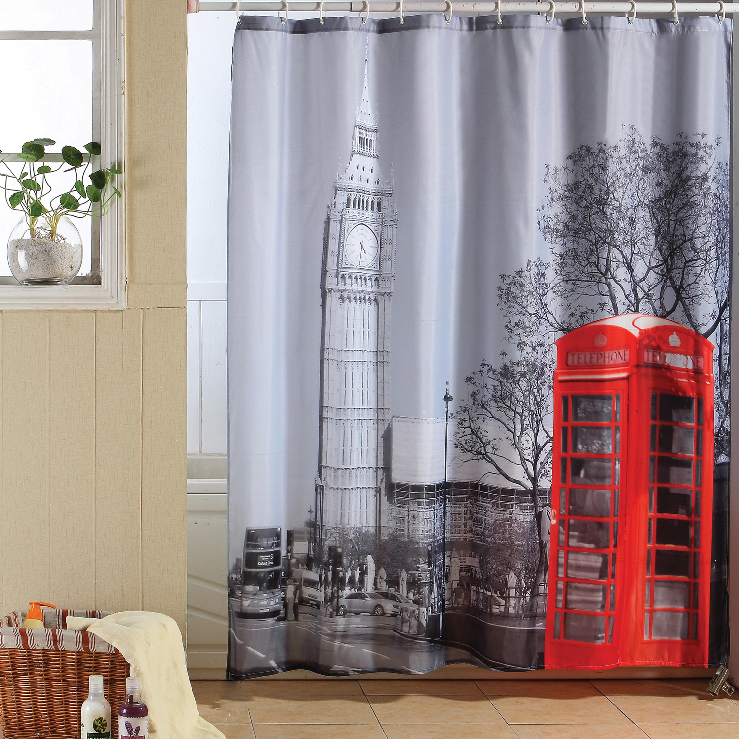 MSV Duschvorhang 180x200cm Anti Schimmel Textil Badewannenvorhang Wannenvorhang London