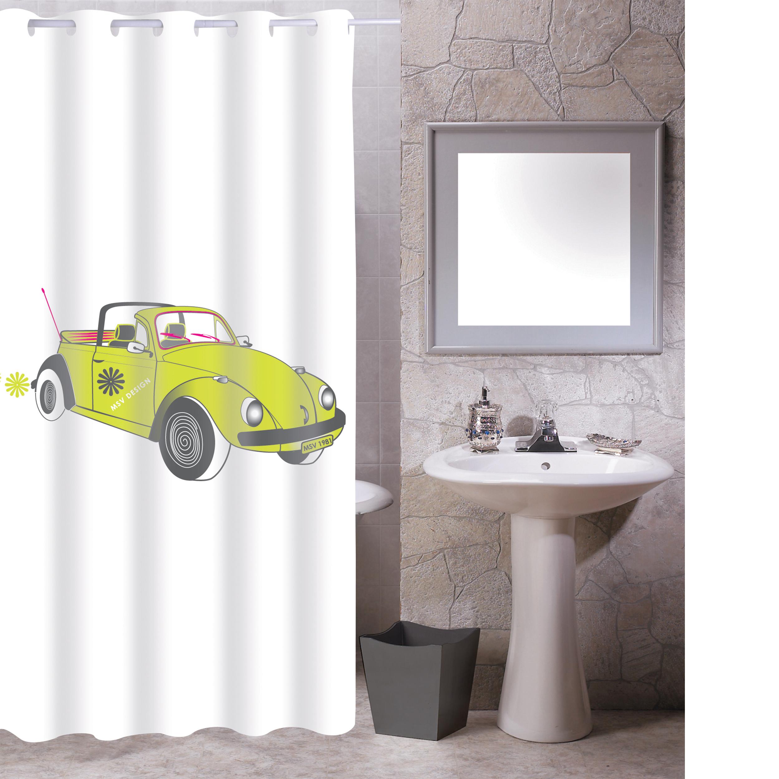 MSV Duschvorhang 180x200cm Anti Schimmel Textil Badewannenvorhang Wannenvorhang Cox