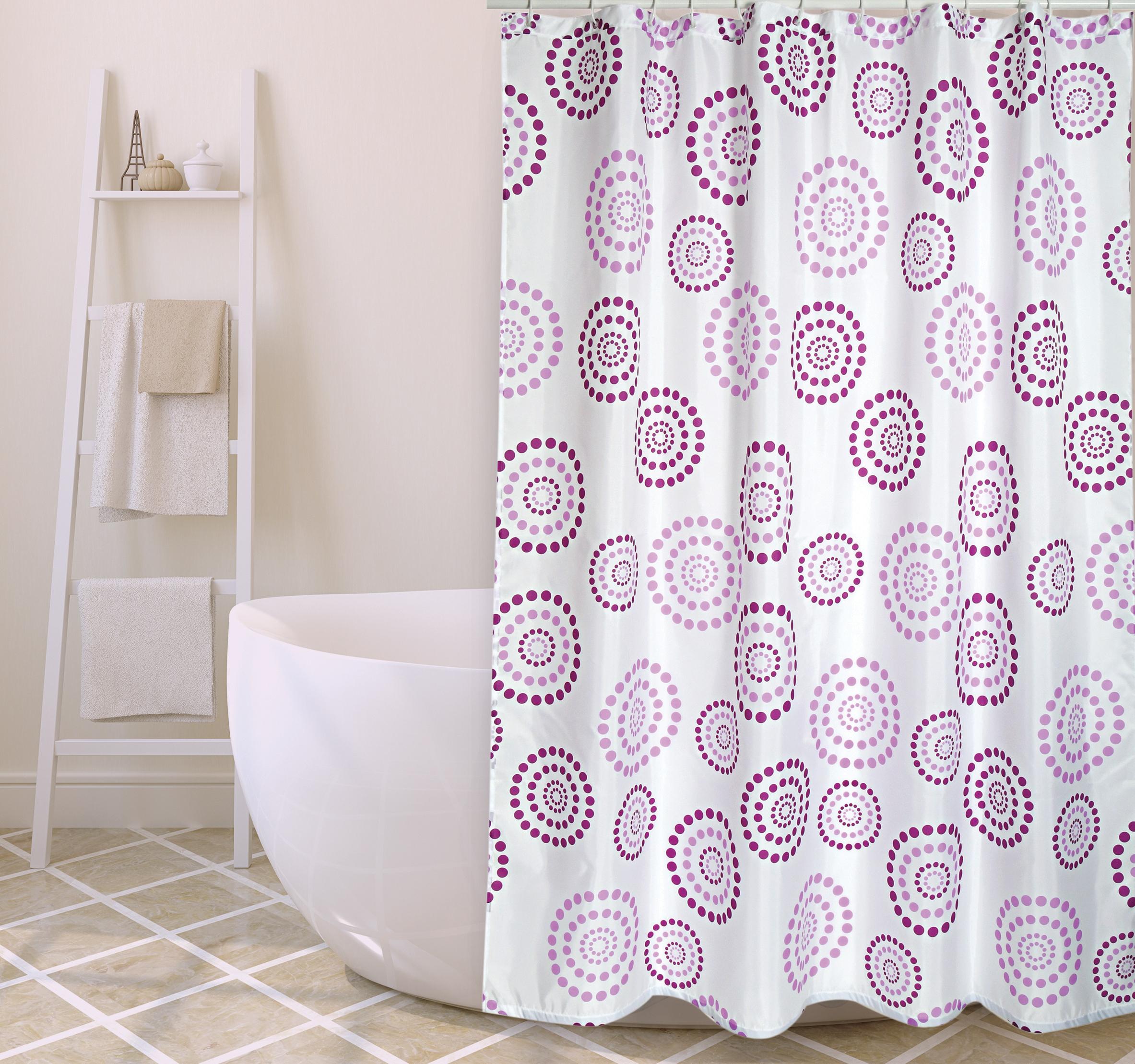 MSV Duschvorhang 180x200cm Anti Schimmel Textil Badewannenvorhang Wannenvorhang Kreise Lila