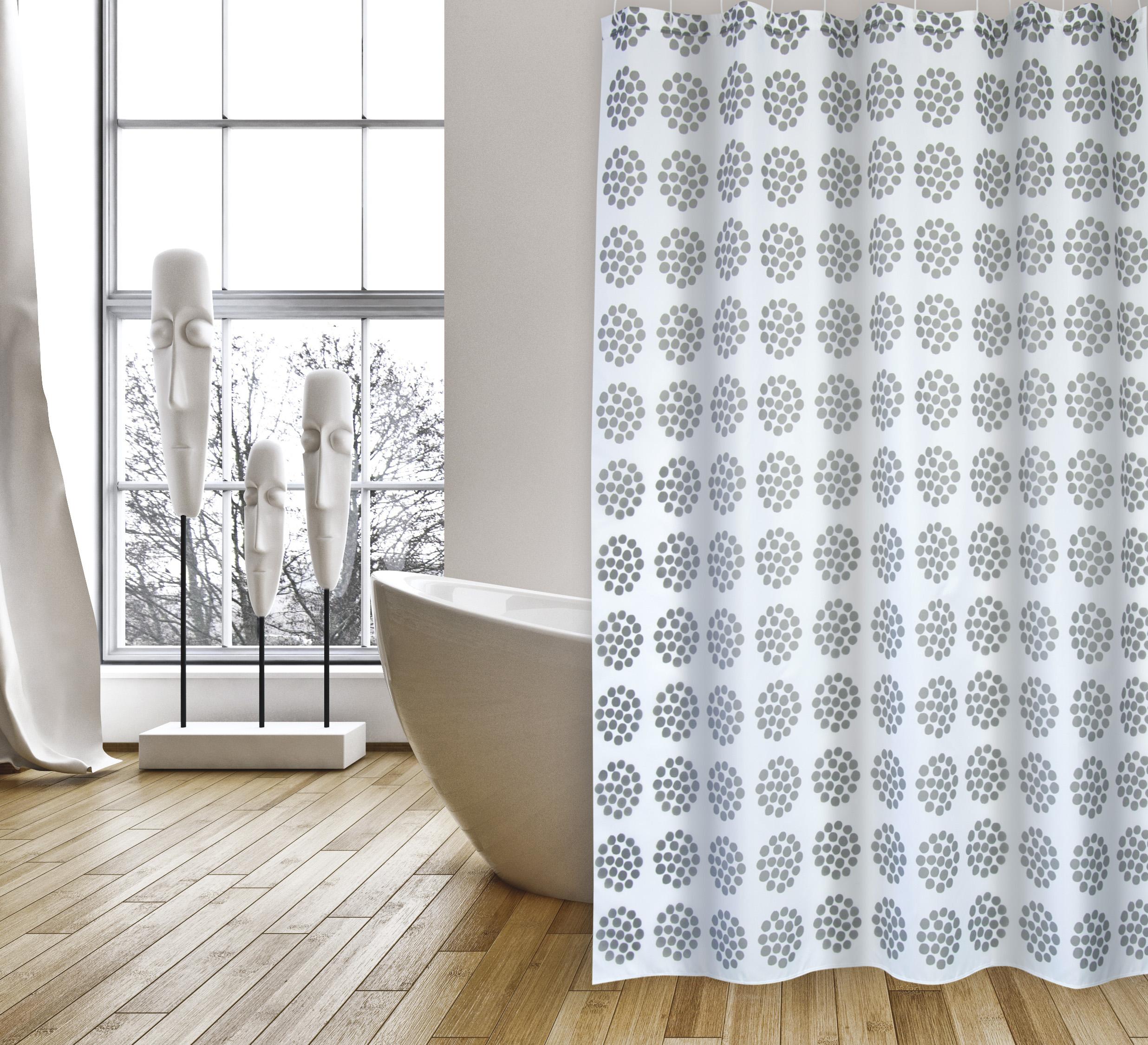 MSV Duschvorhang 180x200cm Anti Schimmel Textil Badewannenvorhang Wannenvorhang Bregonia