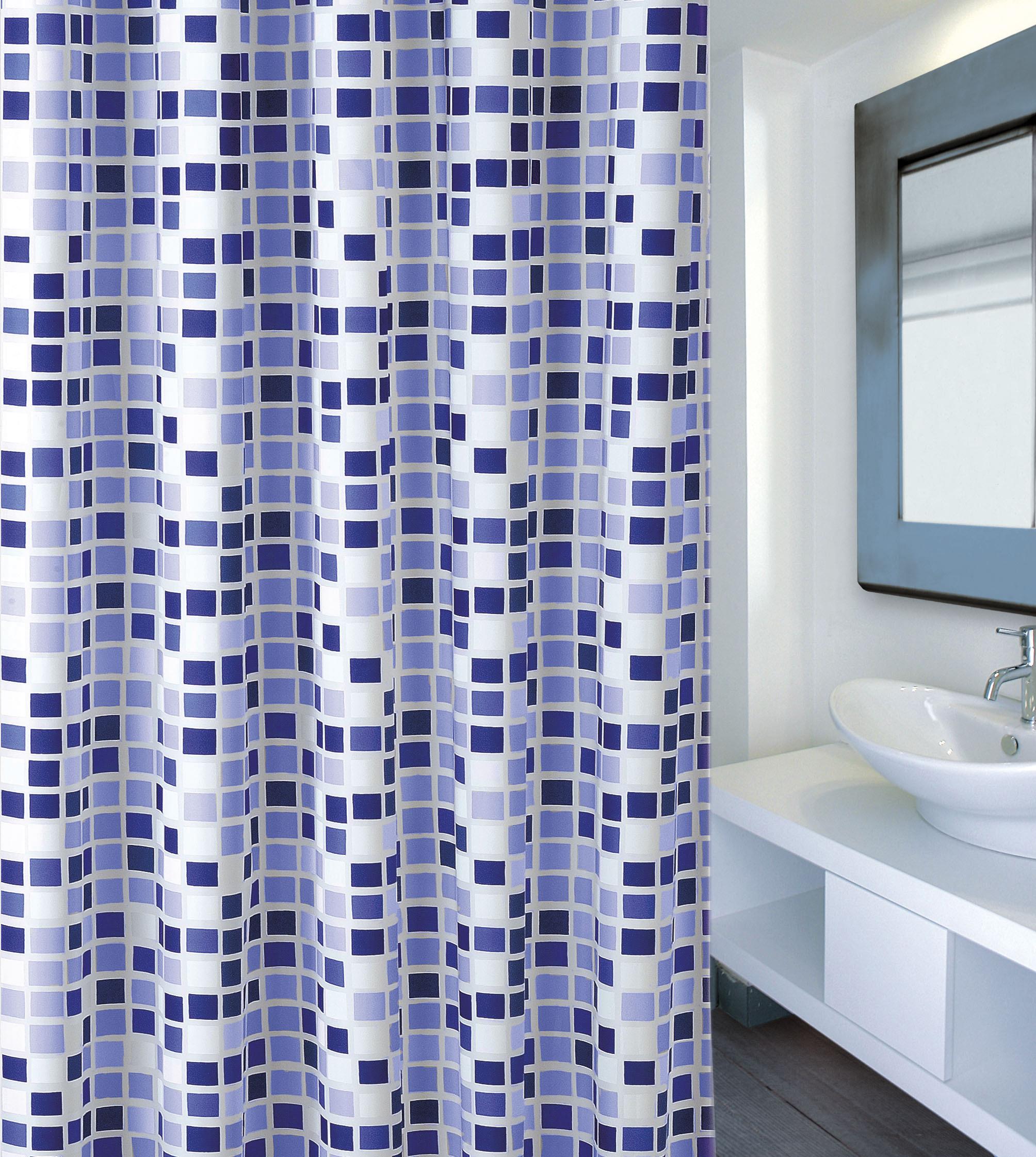 MSV Duschvorhang 180x200cm Anti Schimmel Textil Badewannenvorhang Wannenvorhang Mosaiko Blau
