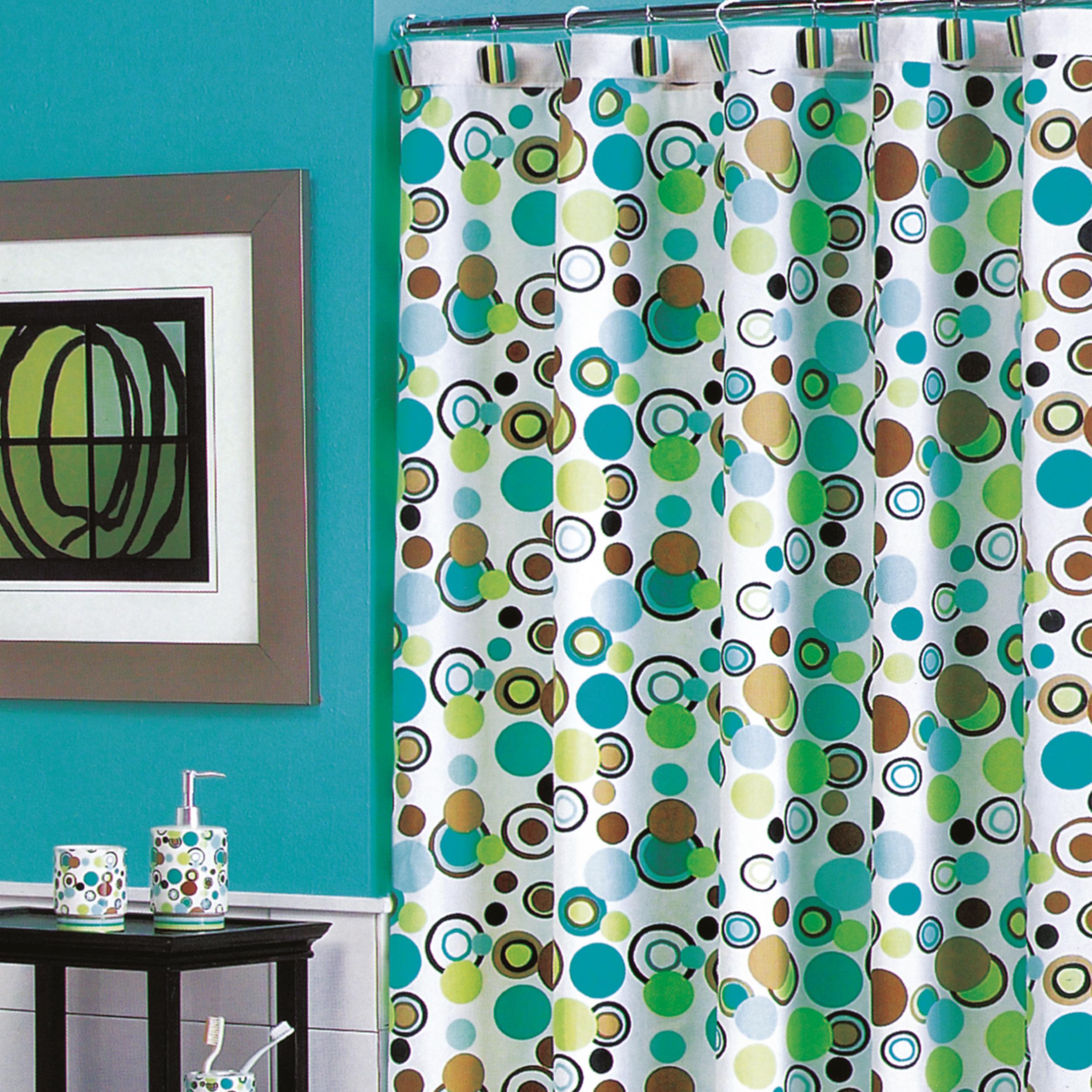 MSV Duschvorhang 180x200cm Anti Schimmel Textil Badewannenvorhang Wannenvorhang Farbige Kreise