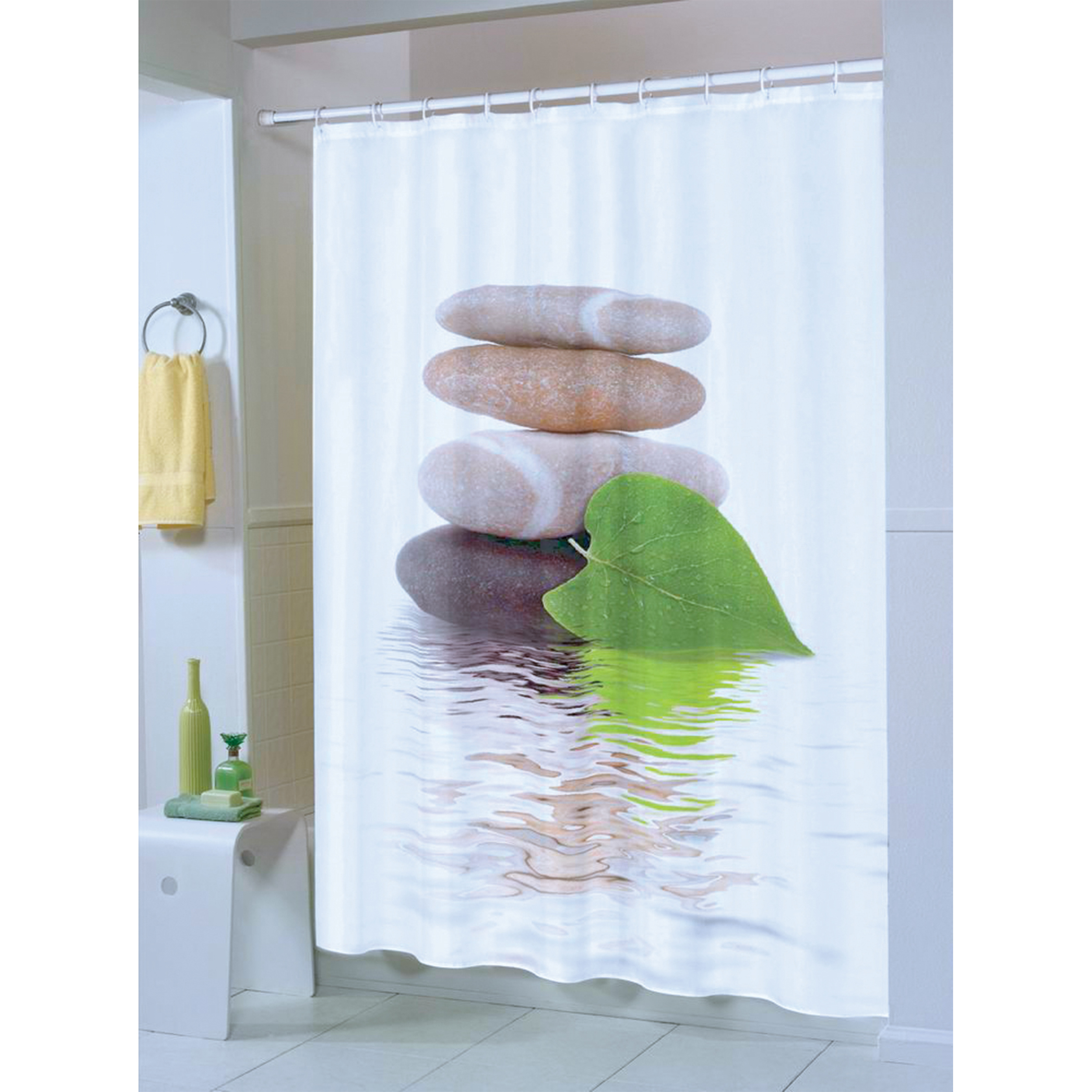 MSV Duschvorhang 180x200cm Anti Schimmel Textil Badewannenvorhang Wannenvorhang Lingga