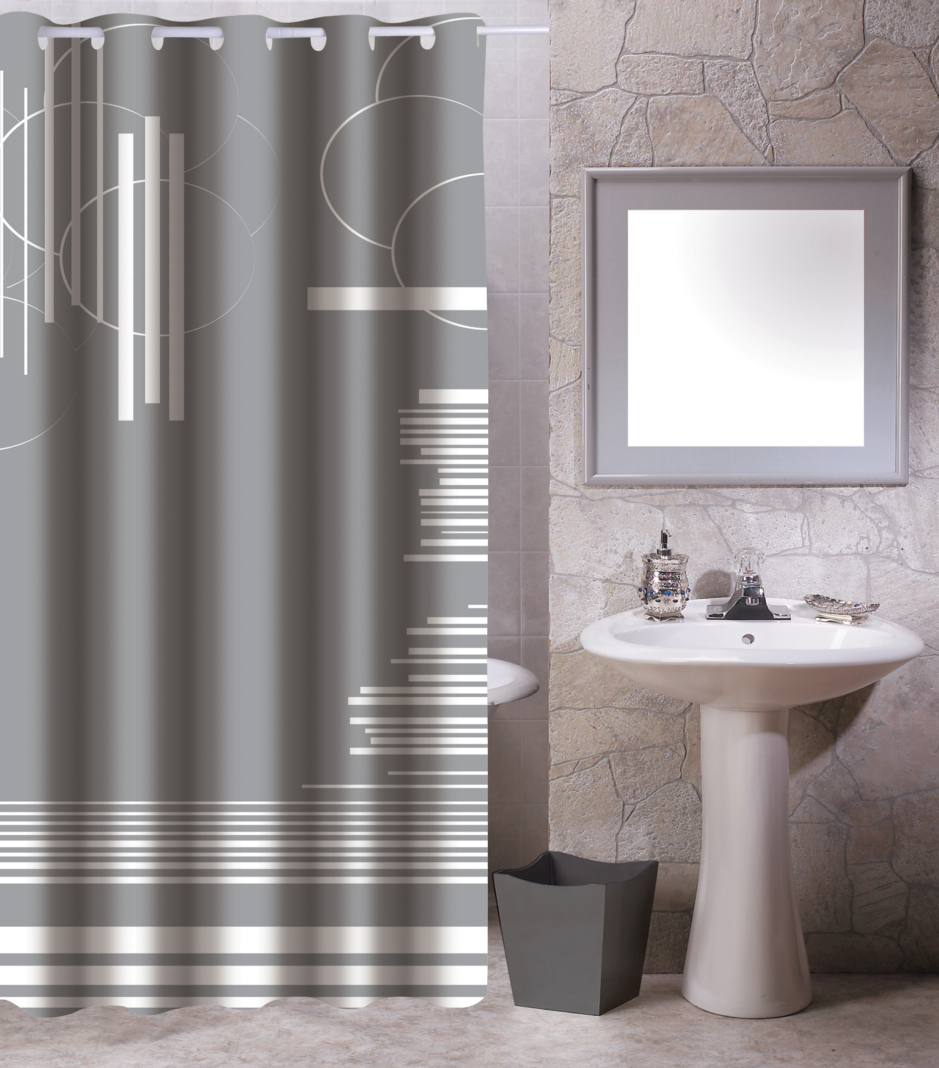 MSV Duschvorhang 180x200cm Anti Schimmel Textil Badewannenvorhang Wannenvorhang Graphics Grau