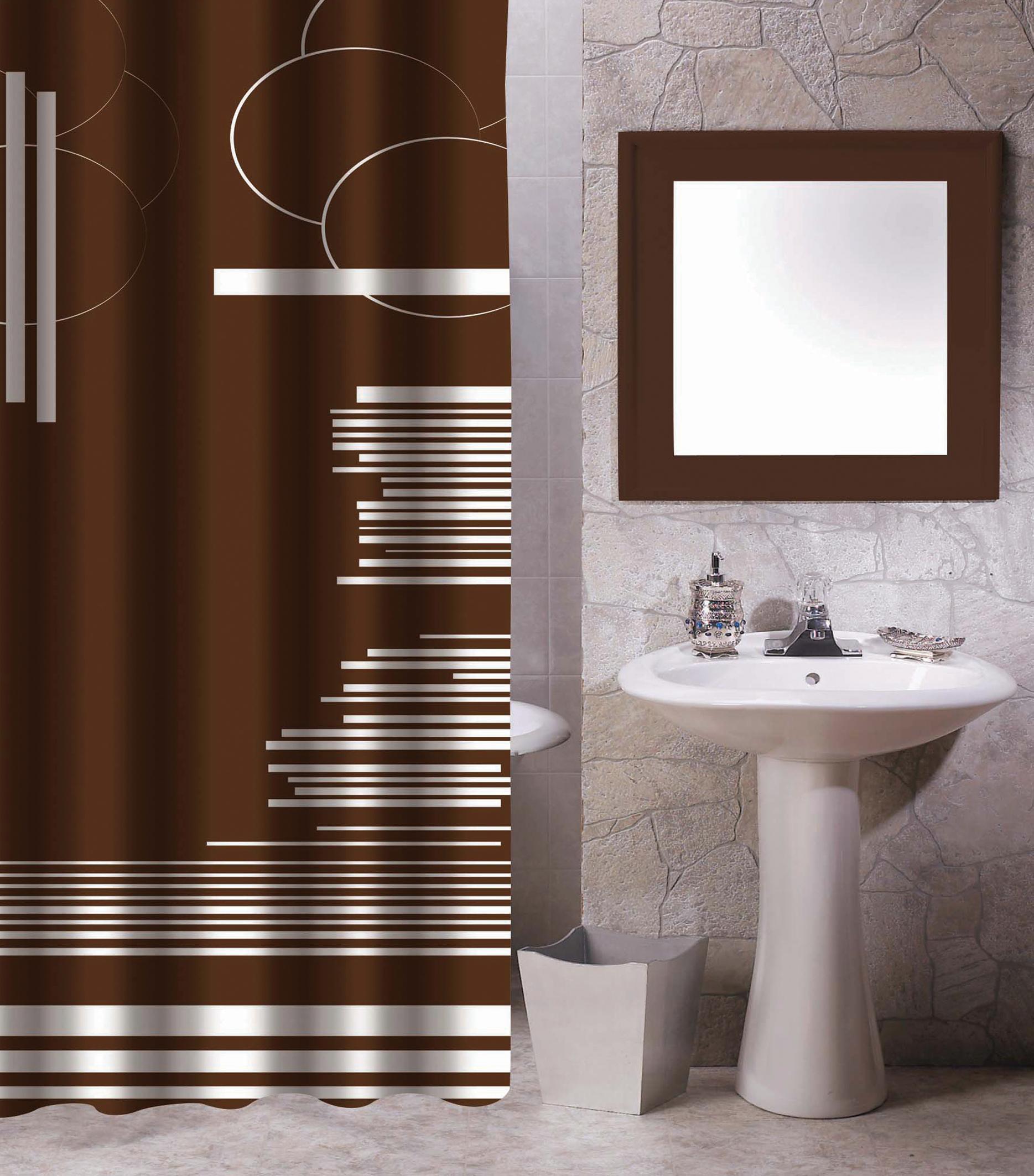 MSV Duschvorhang 180x200cm Anti Schimmel Textil Badewannenvorhang Wannenvorhang Grafik Braun