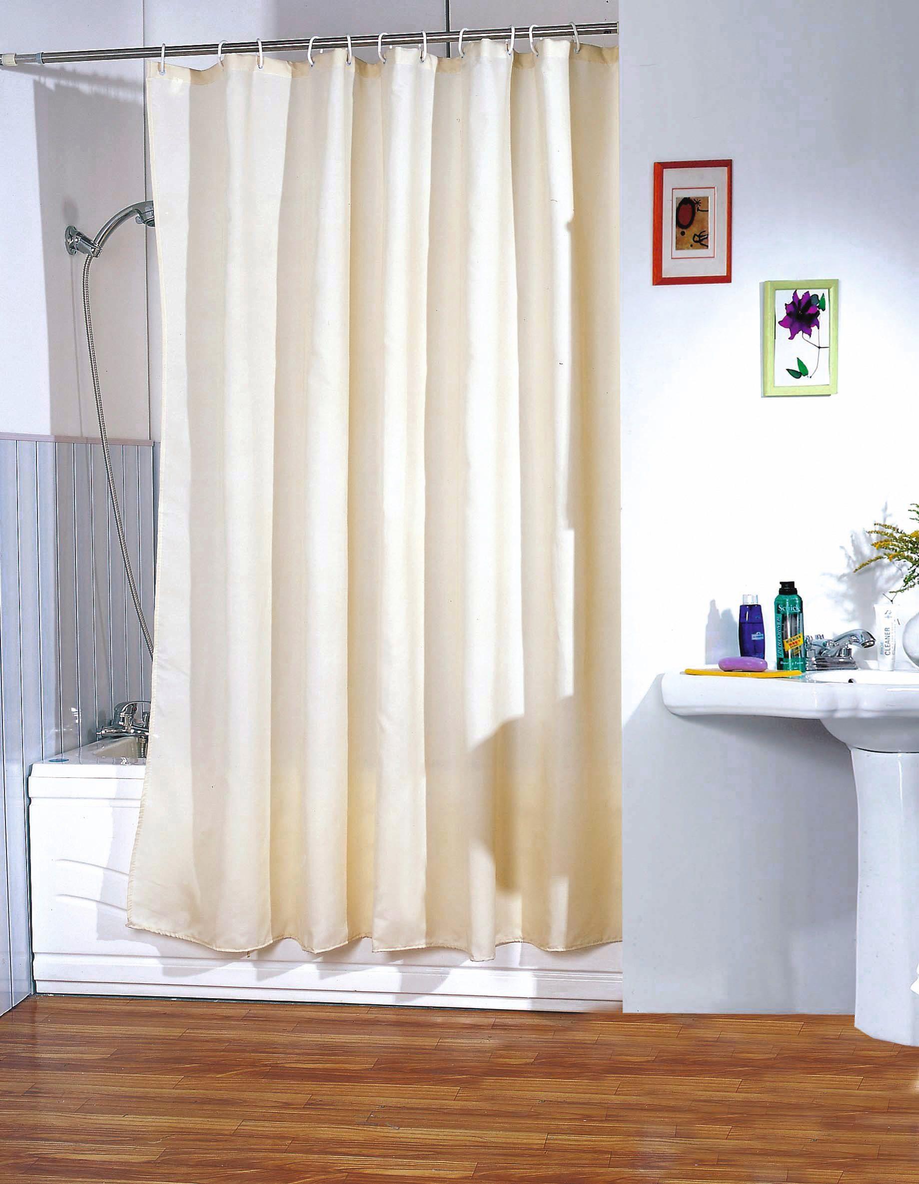 MSV Duschvorhang 180x200cm Anti Schimmel Textil Badewannenvorhang Wannenvorhang Beige