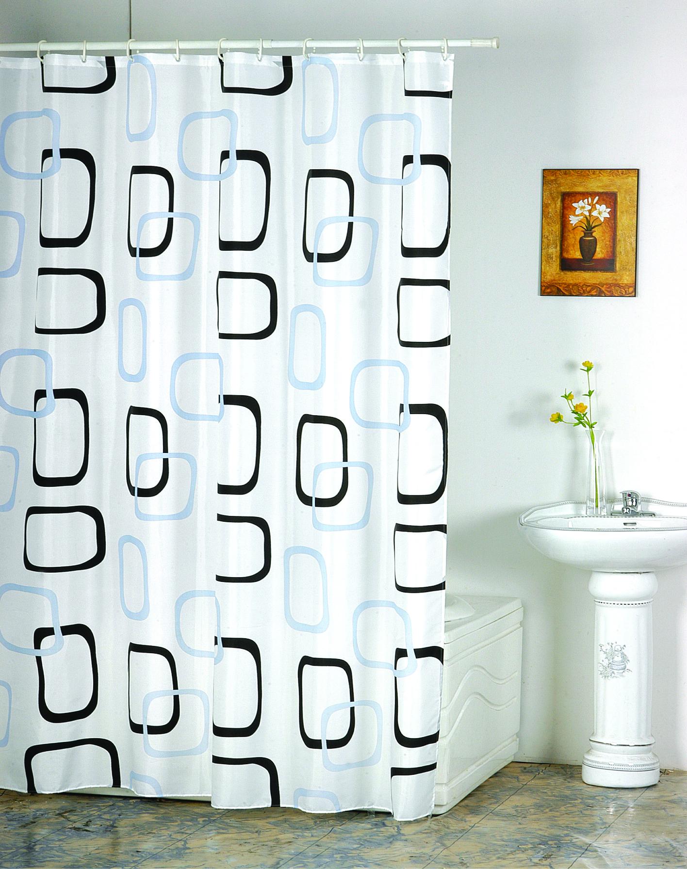 MSV Duschvorhang 180x200cm Anti Schimmel Textil Badewannenvorhang Wannenvorhang Quadrat