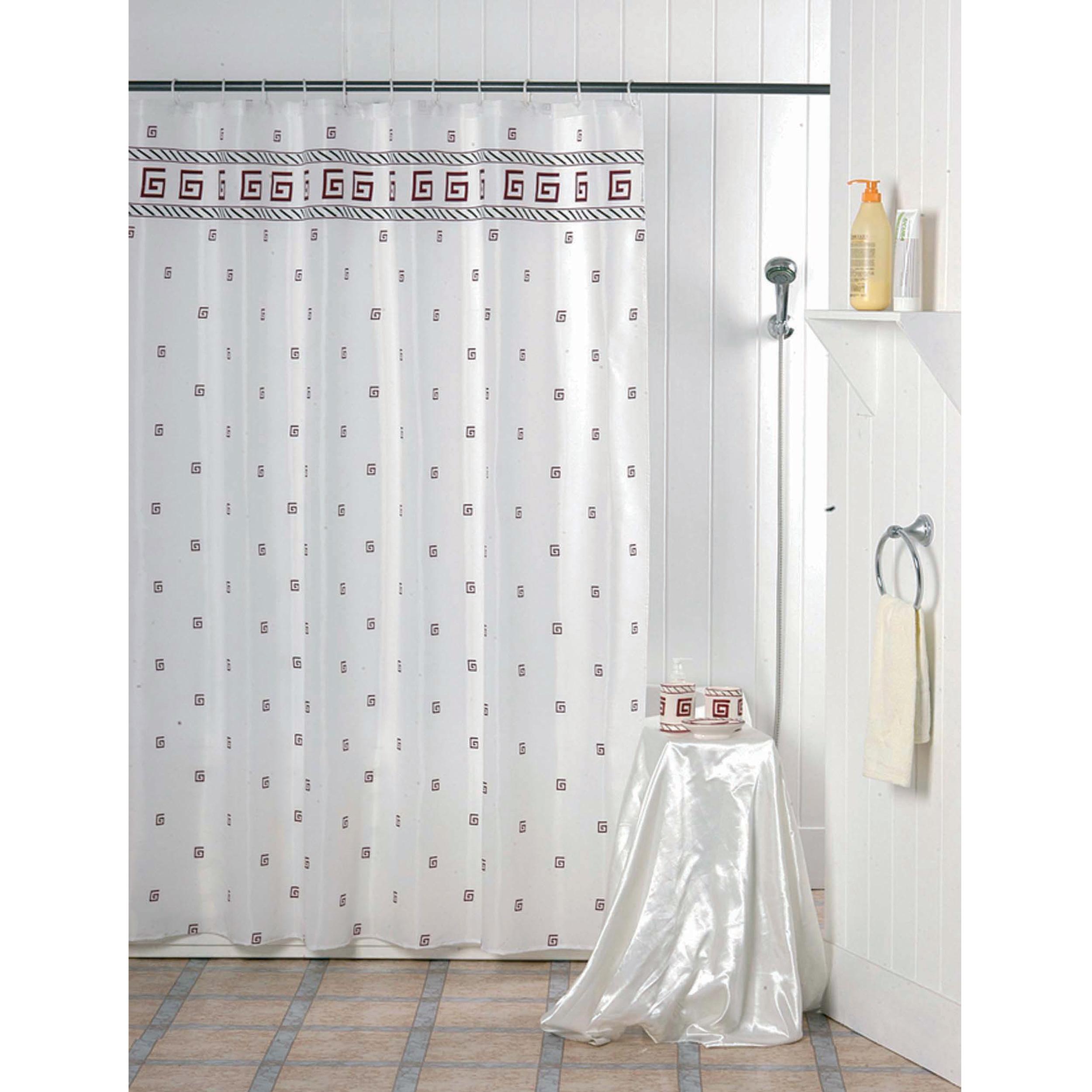 MSV Duschvorhang 180x200cm Anti Schimmel Textil Badewannenvorhang Wannenvorhang Kacheln Rot
