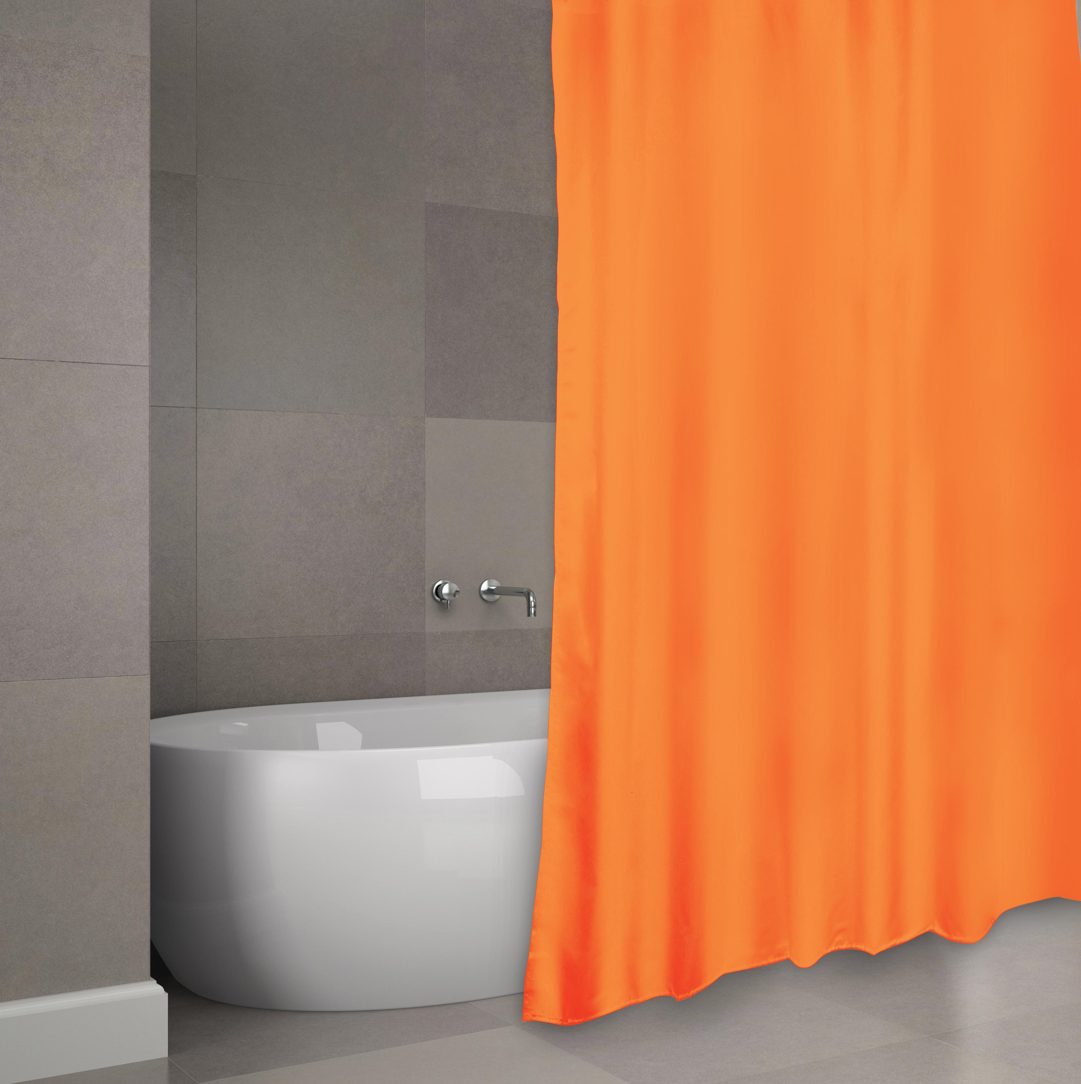 MSV Duschvorhang 180x200cm Anti Schimmel Textil Badewannenvorhang Wannenvorhang Orange