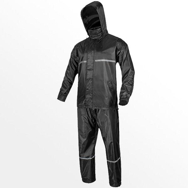 2-teilige Regenanzug Jacke Kapuze Regenlatzhose Regen M-XXL Nässeschutz PVC Neu