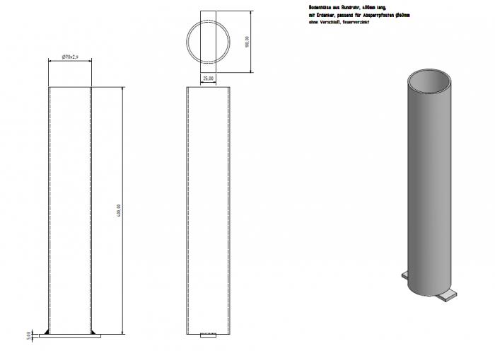 absperrpfosten aus stahlrohr 60 mm herausnehmbar ohne. Black Bedroom Furniture Sets. Home Design Ideas