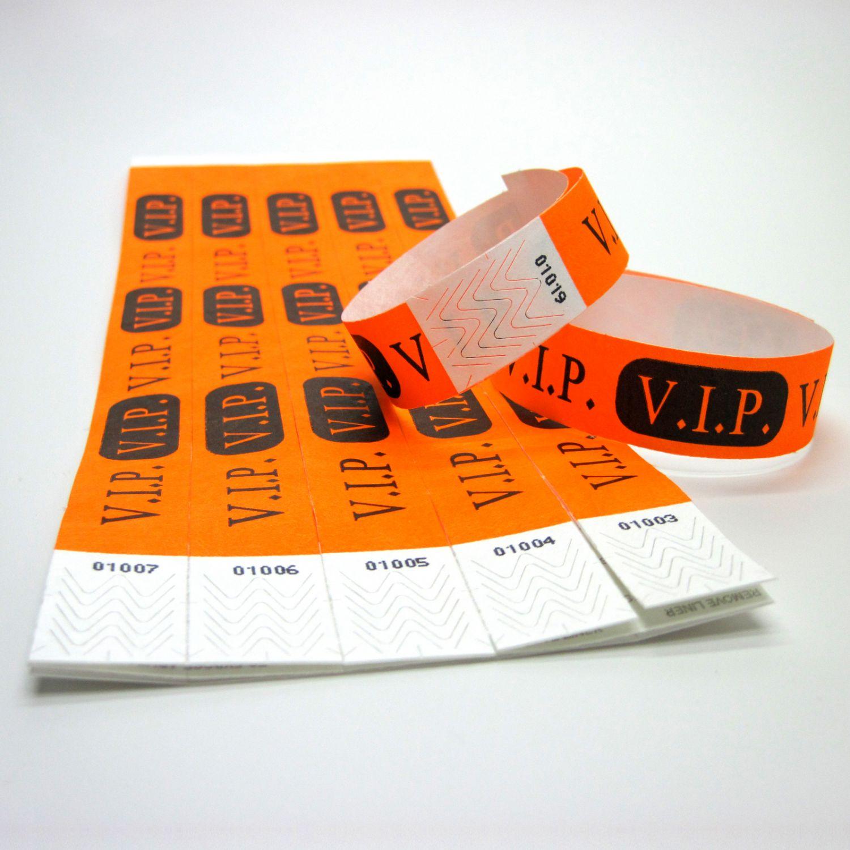 100 Eintrittsbänder Kontrollbänder Eventbänder Einlassbänder Tyvekbänder orange