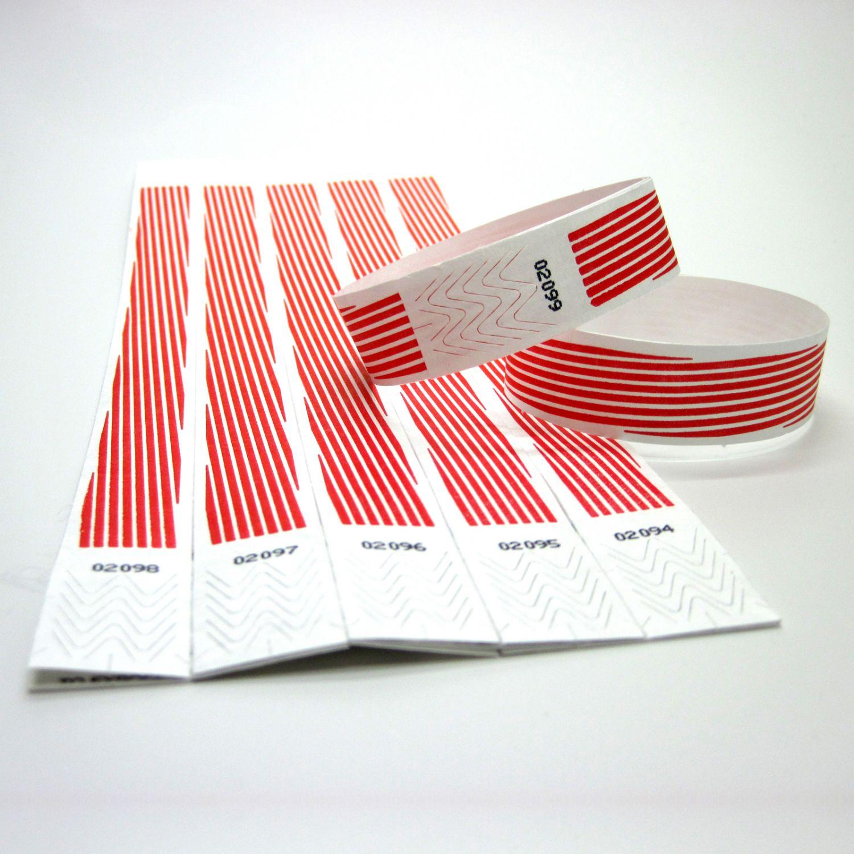 100 Tyvek Kontroll Bänder Eintritts Armbänder Einlass Event Armband rote Streif.