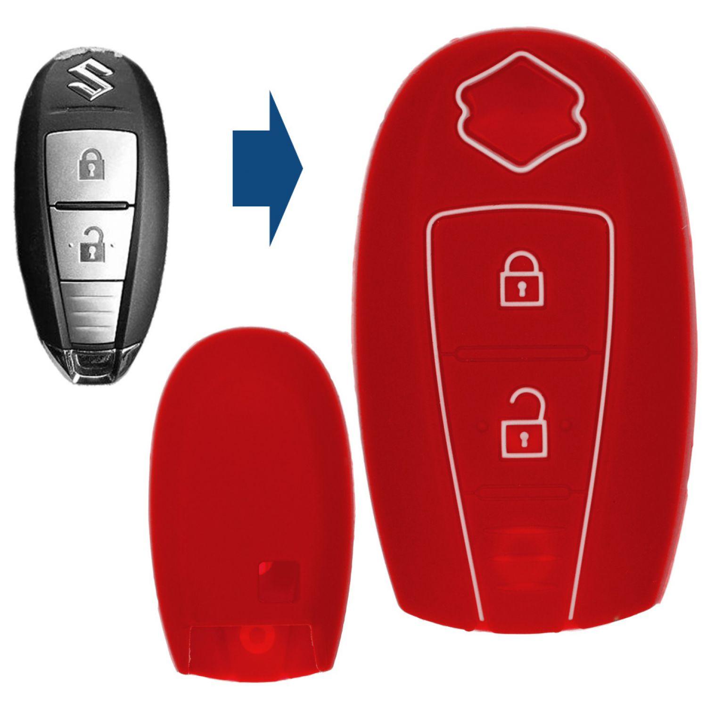 Auto 2 Tasten Silikon Key Cover Schutzhülle für Suzuki Rose rot