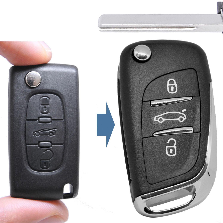 Klapp Schlüssel UMBAU Gehäuse NEUES DESIGN 3T Peugeot Citroen Fernbedienung VA2