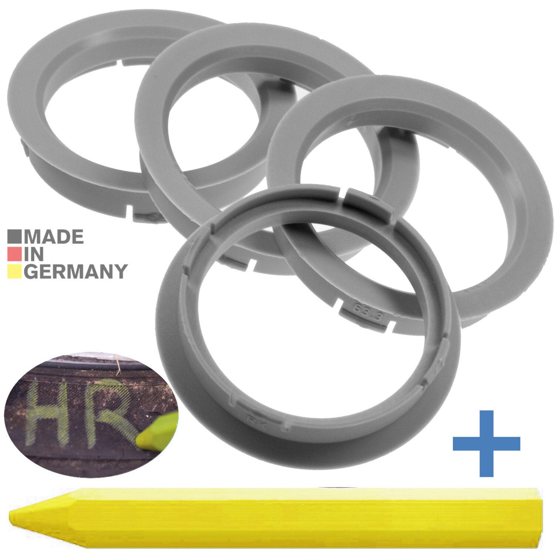 Envío inmediato 4x anillas de centrado 72,6 mm x 57,1 mm reifenkreide 72 6 x 57 1