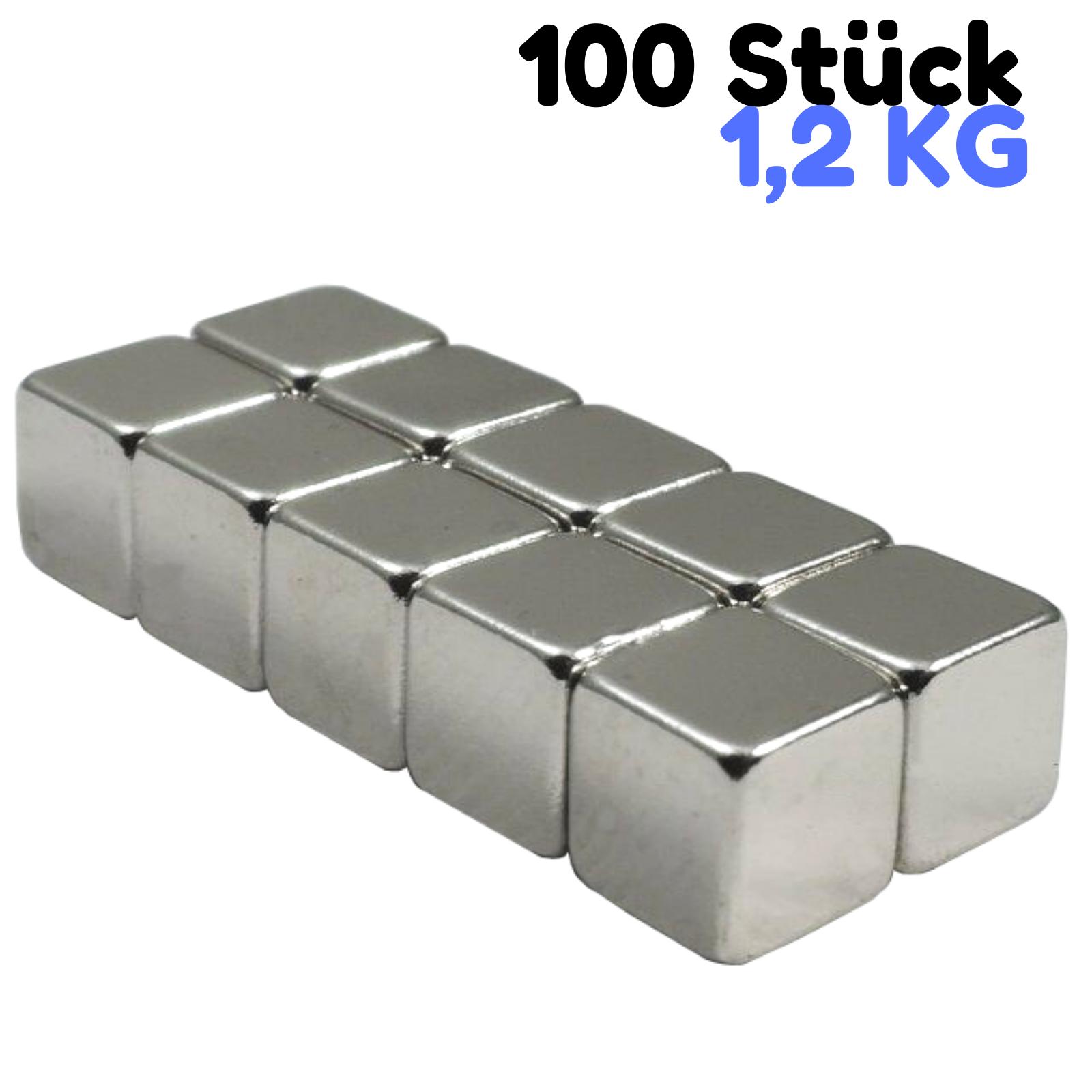 100 STÜCK NEODYM POWER MAGNET WÜRFEL 10x10x10mm N52 VERNICKELT EXTREM STARK !!!