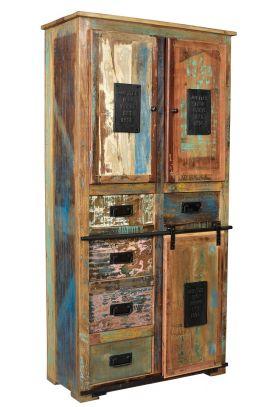 Schrank Vitrine 90x180cm Recyceltes Altholz Bunt Massiv Holz Neu Ovp
